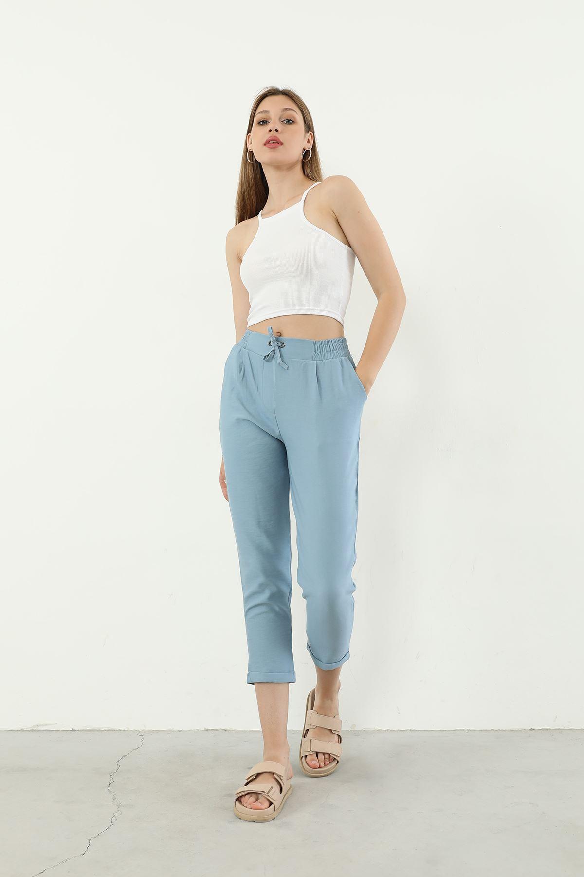 Beli Lastikli Pantolon-Mavi