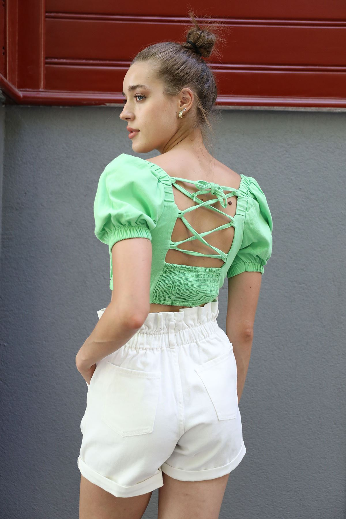 Madonna Yaka Bluz-Neon Yeşil