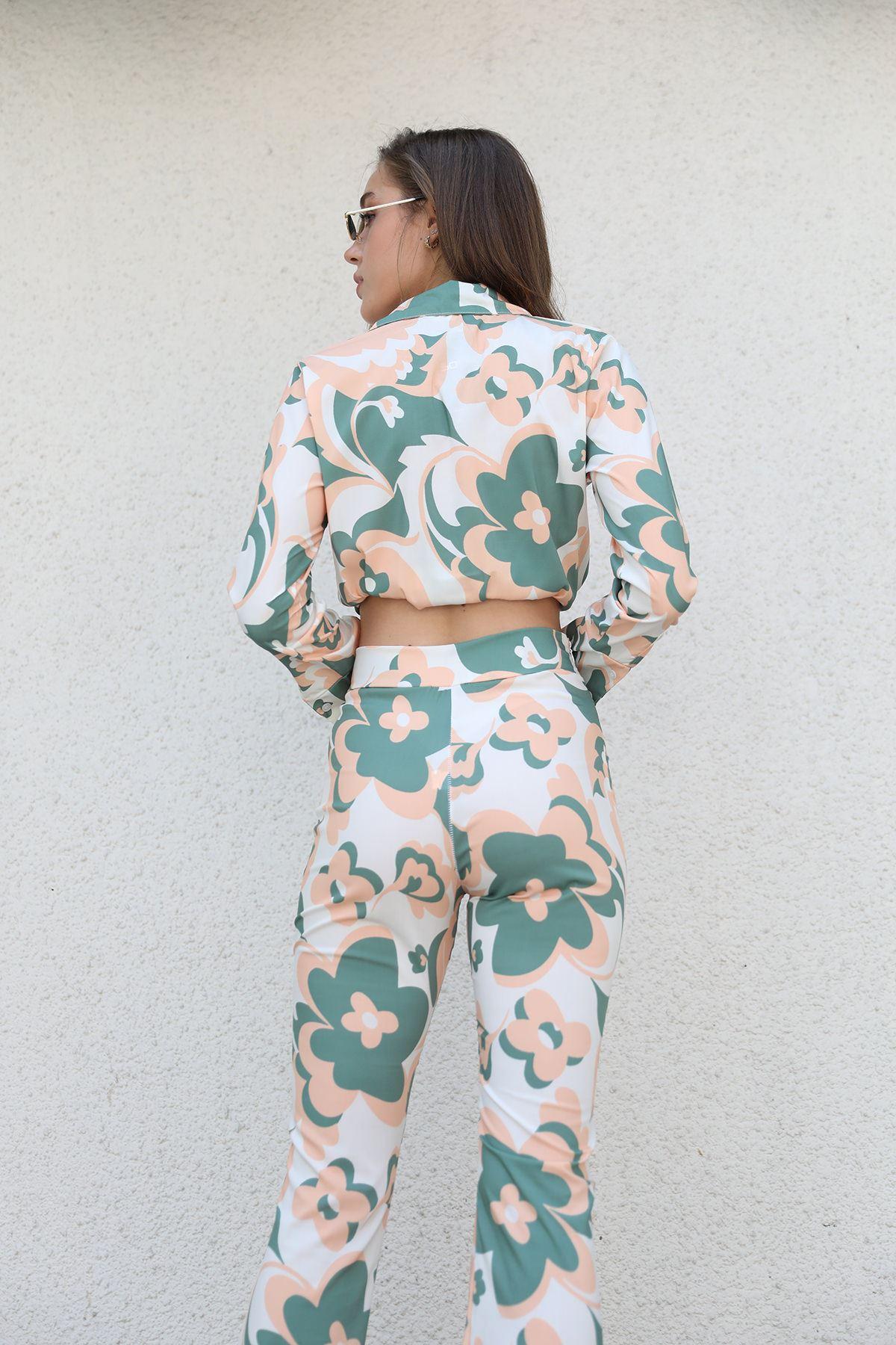 Desenli Pantolon Takım-Haki