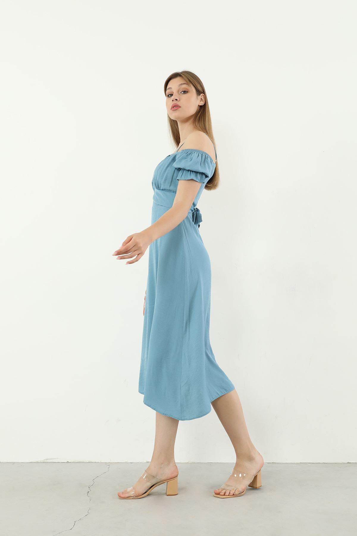 Kuşaklı Elbise-Mavi
