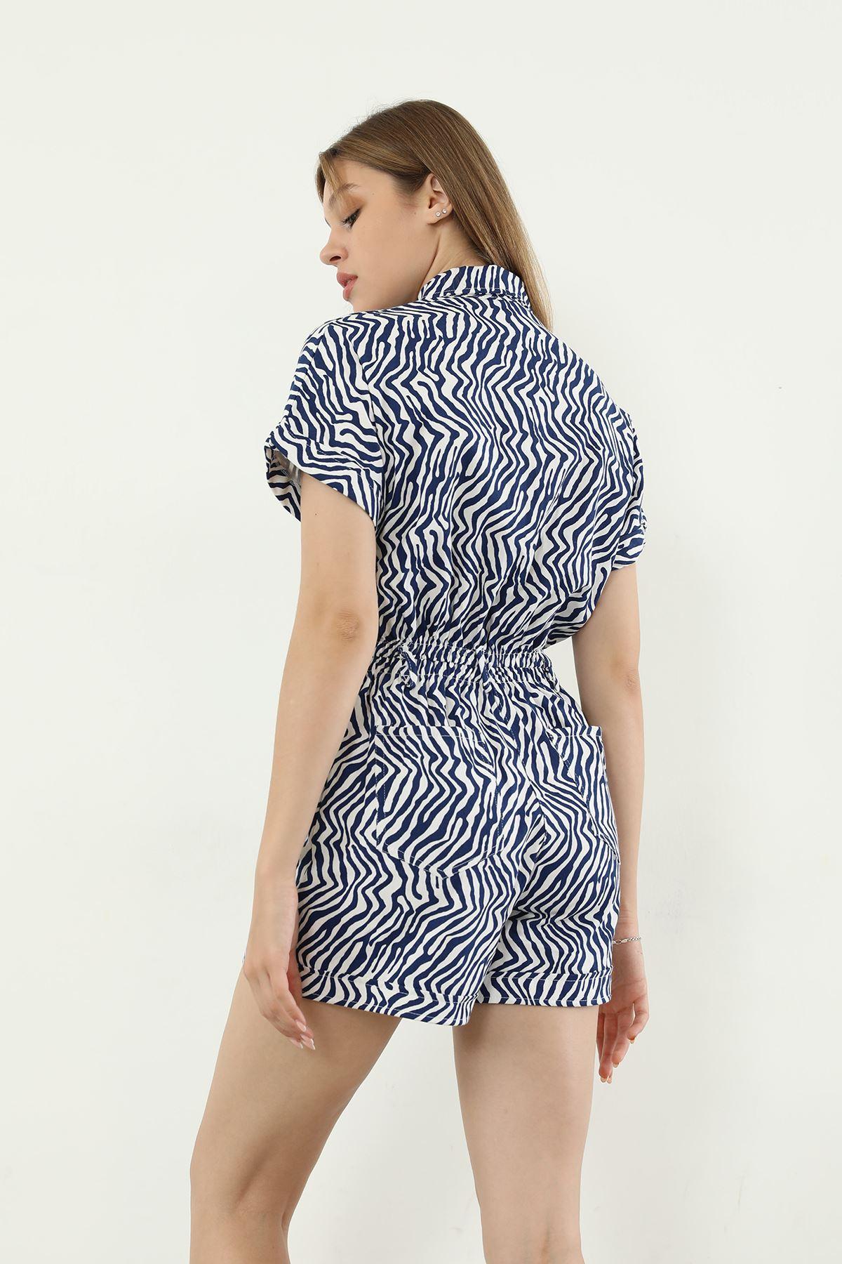 Zebra Desen Şort Tulum-Lacivert