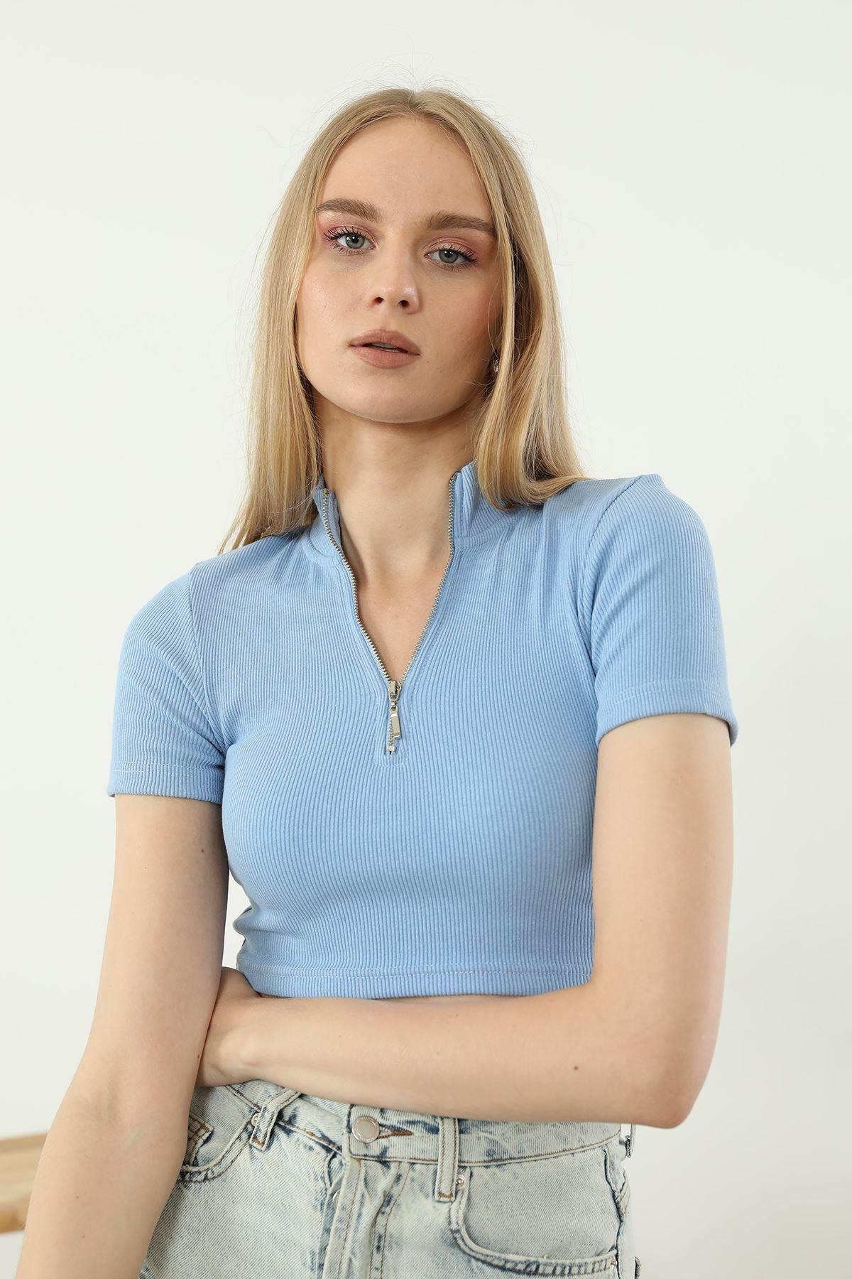Fermuarlı Crop-Mavi