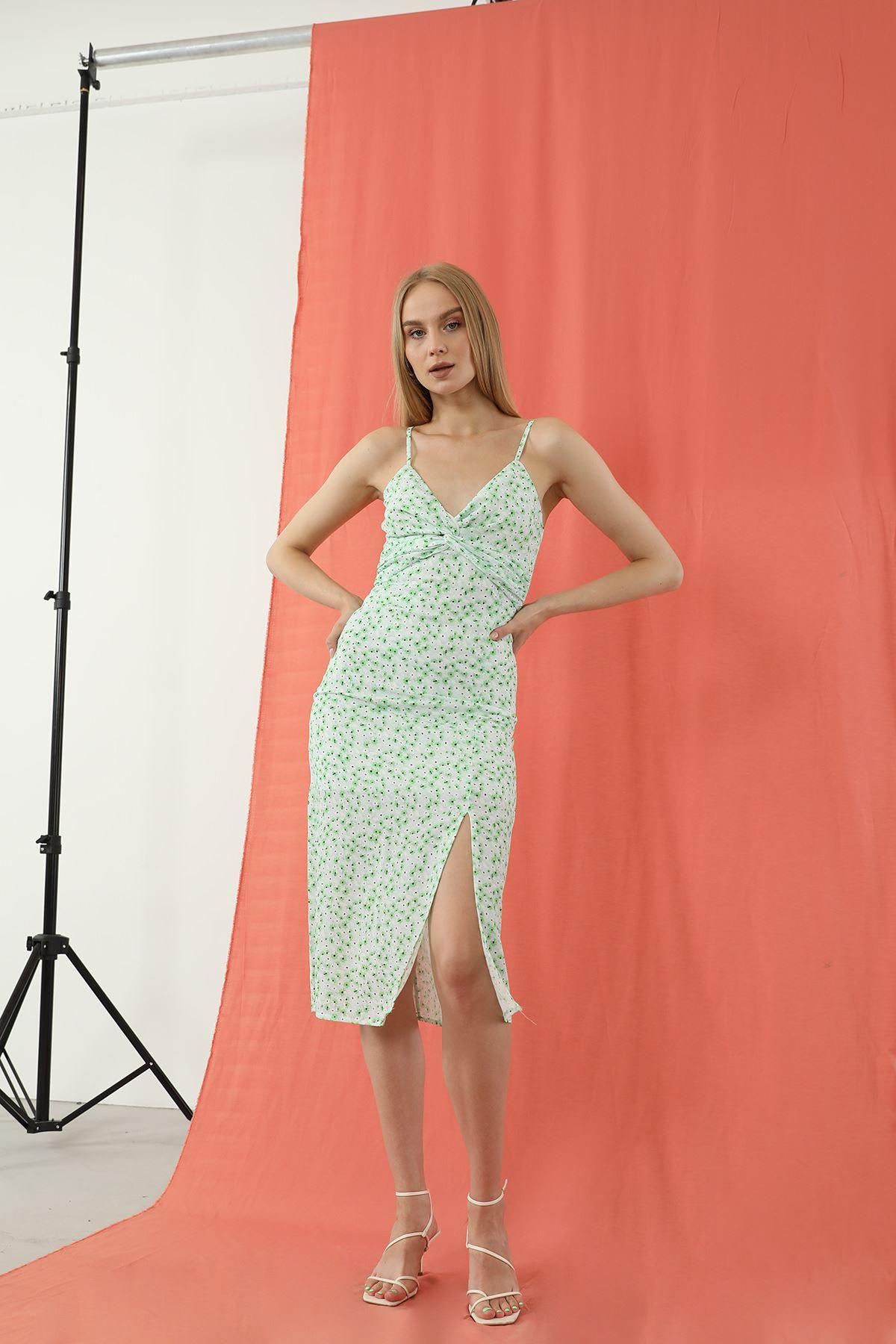 Askılı Elbise-Yeşil