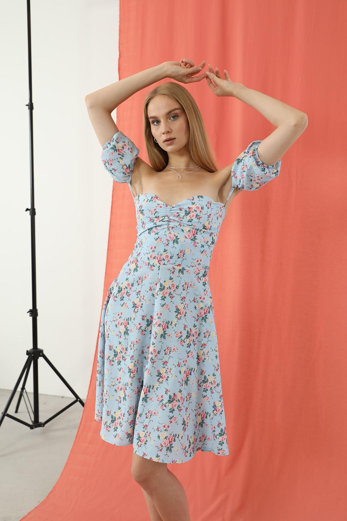 Gipeli Yırtmaçlı Elbise-Mavi