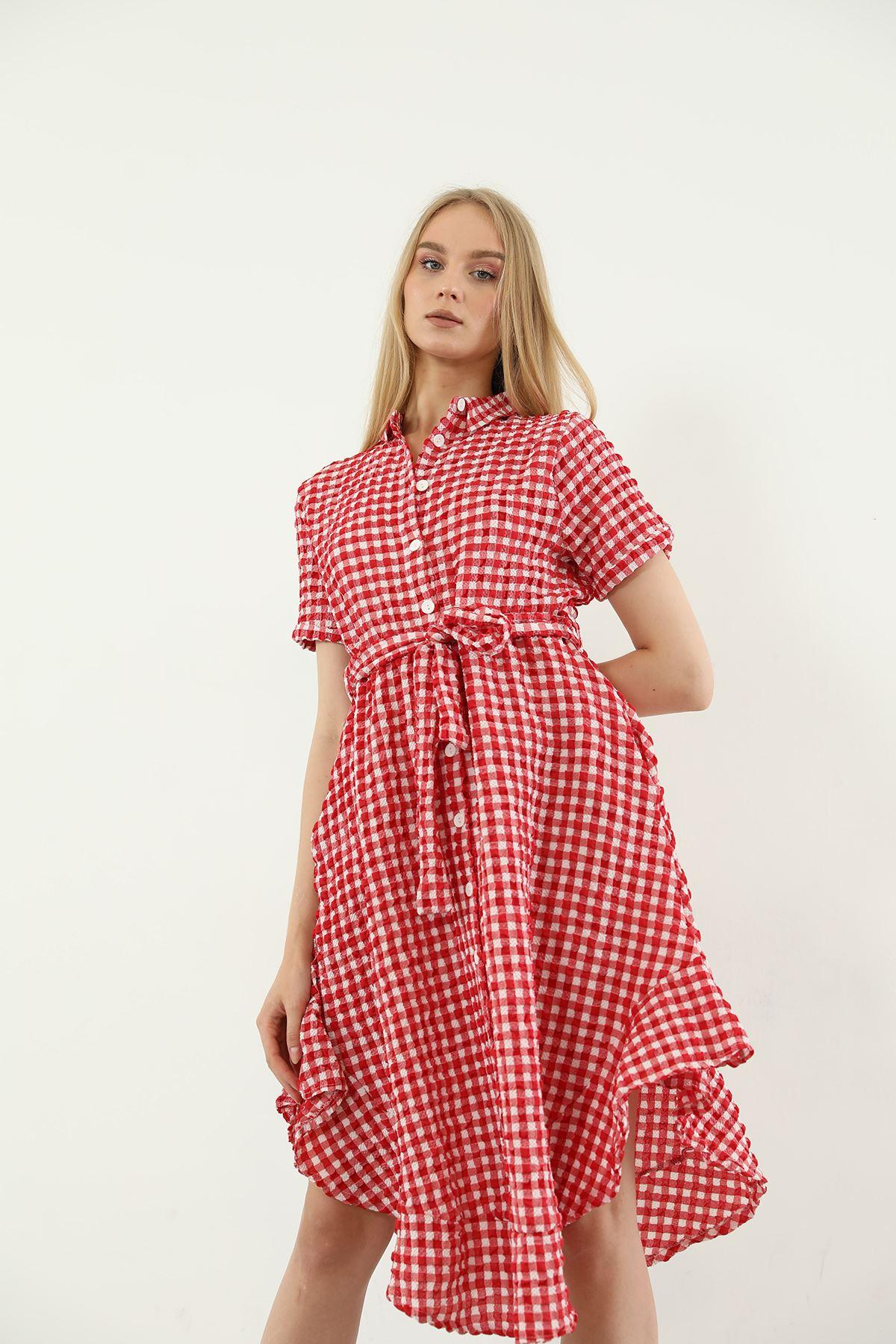Volanlı Elbise-Kırmızı