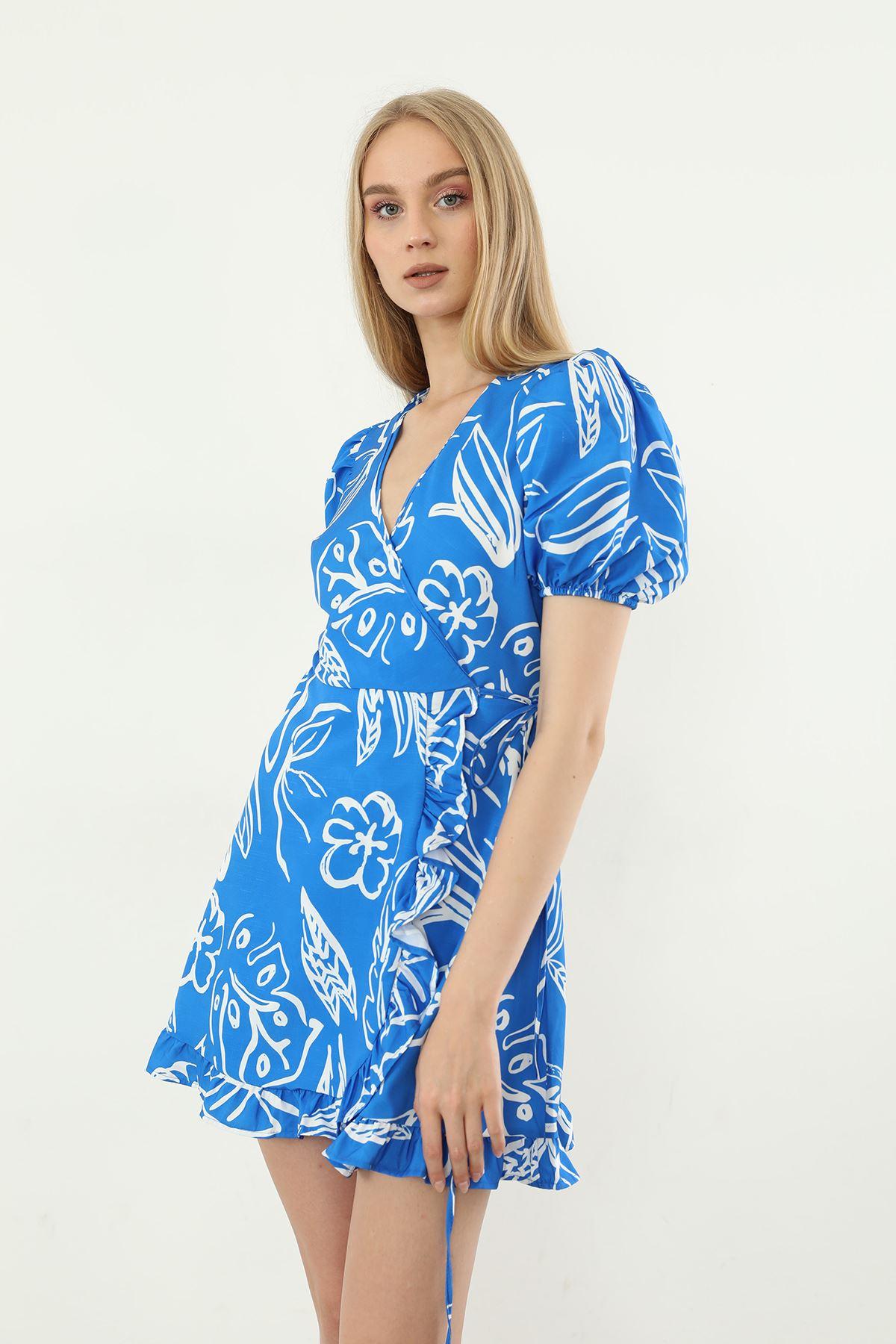 Desenli Bağlamalı Elbise-Saks