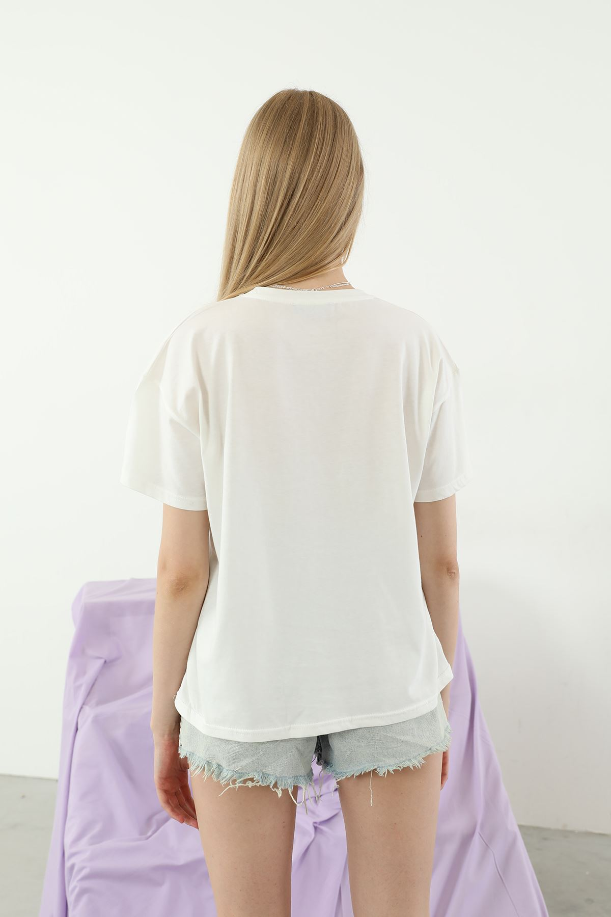 Baskılı Salaş T-shirt-Ekru