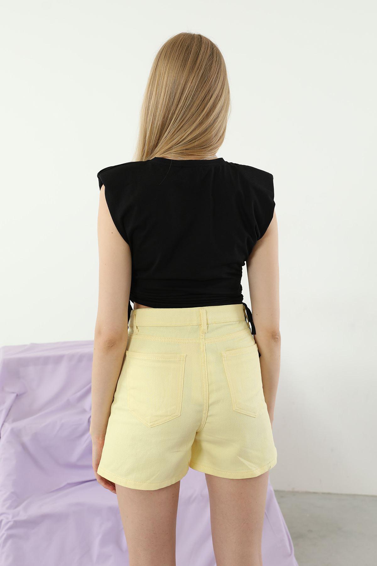 Vatkalı T-shirt-Siyah