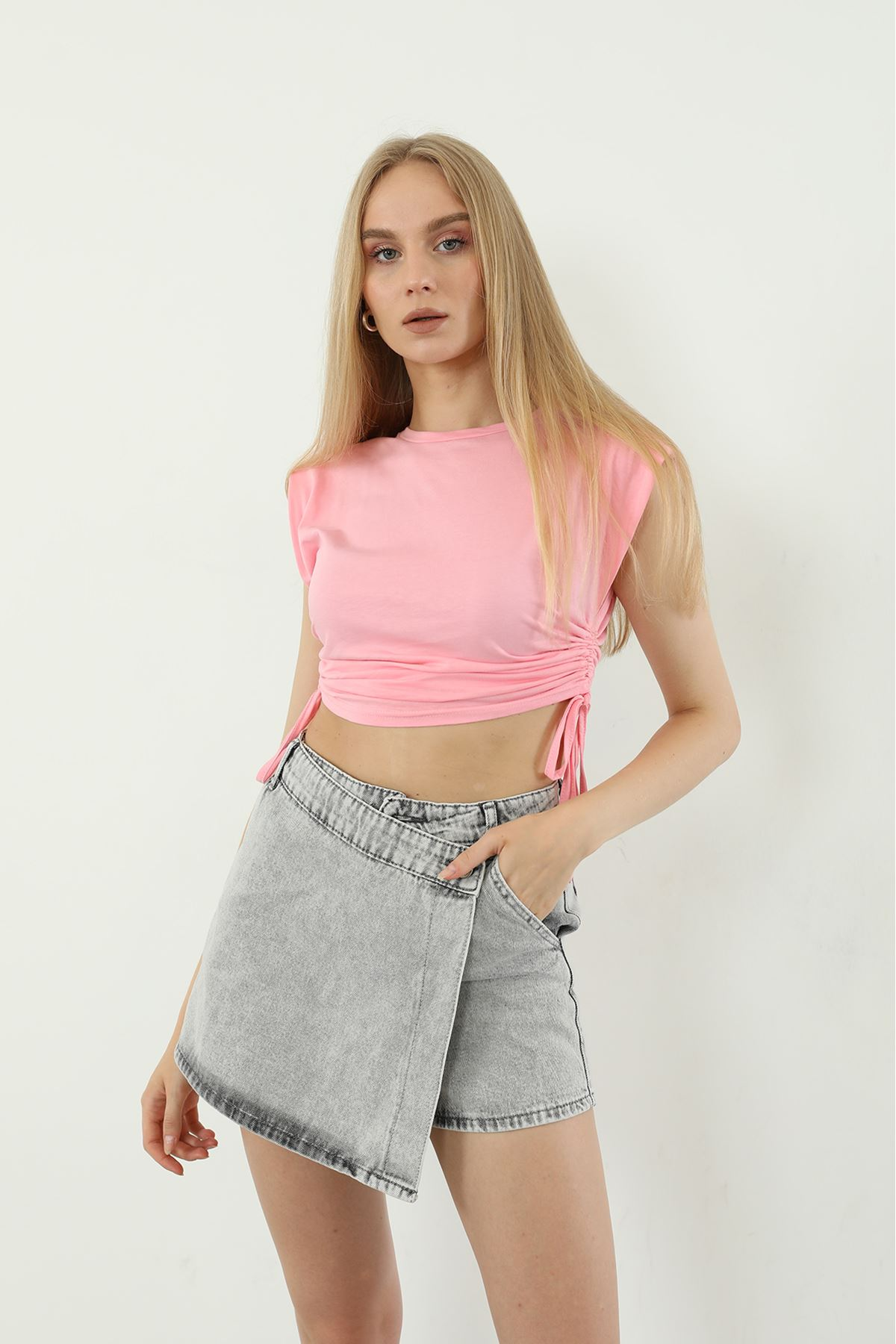 Vatkalı T-shirt-Pembe