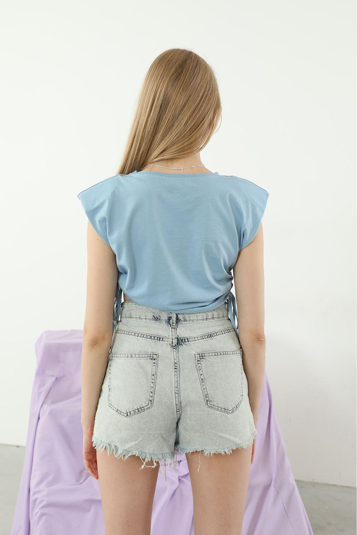 Vatkalı T-shirt-Mavi