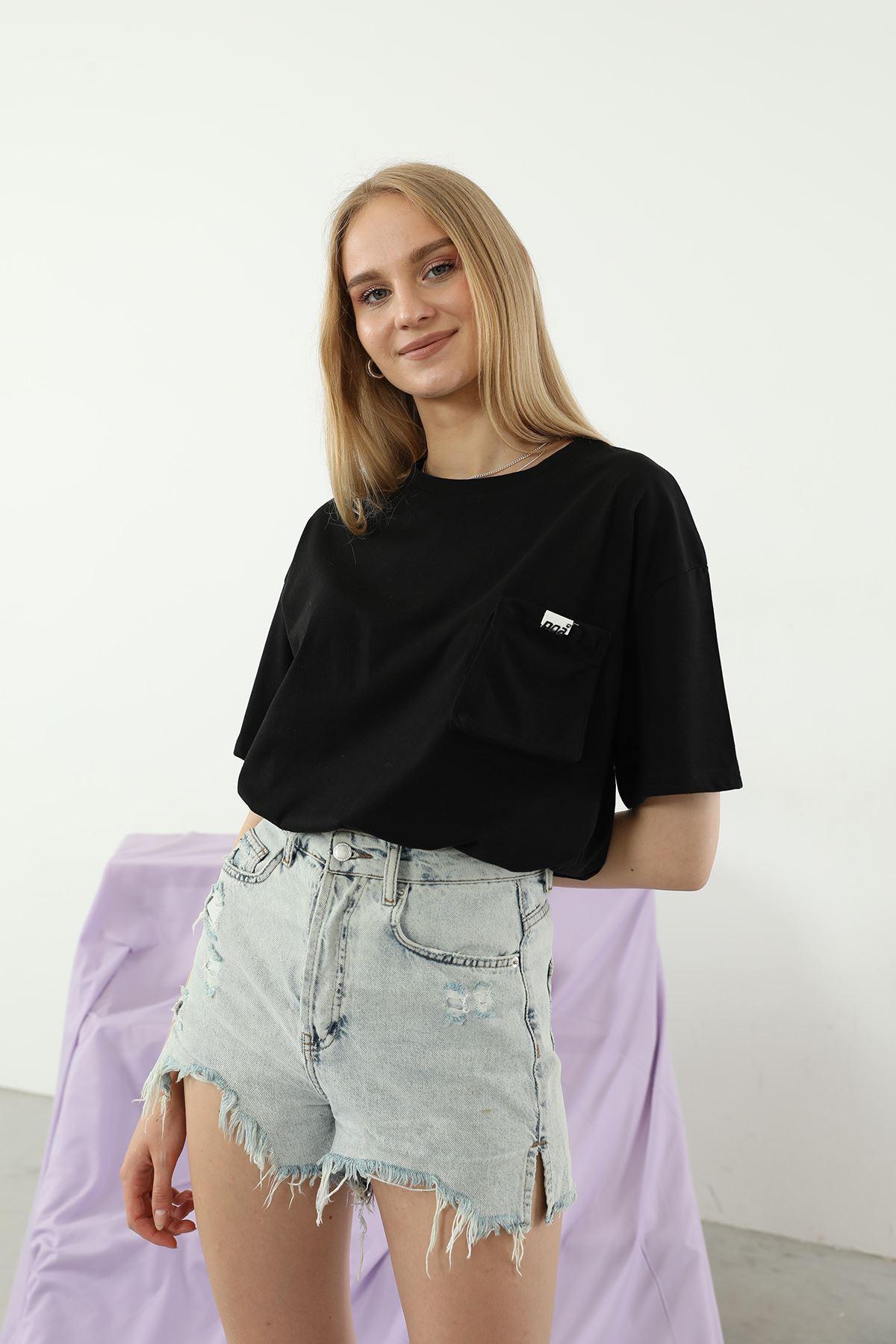 Cep Detay T-shirt-Siyah
