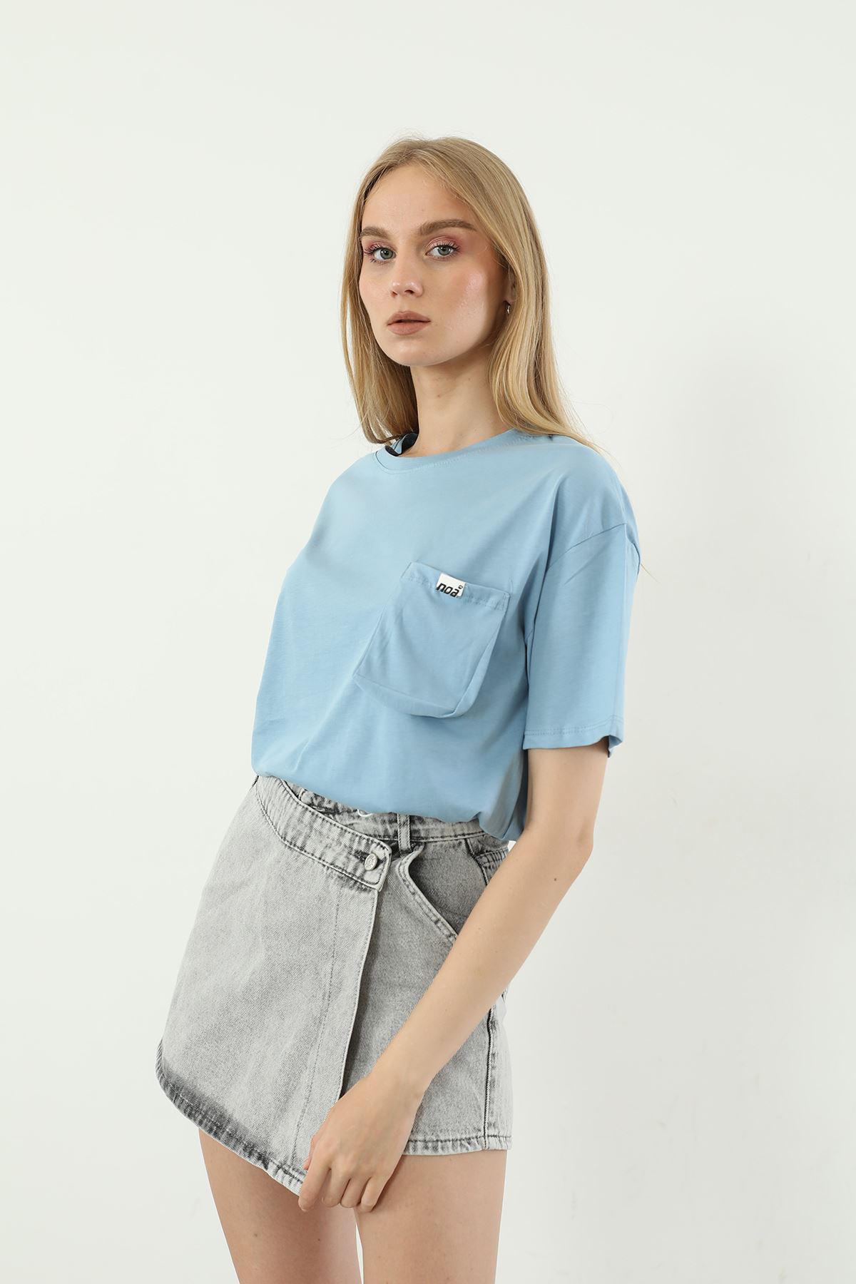 Cep Detay T-shirt-Mavi