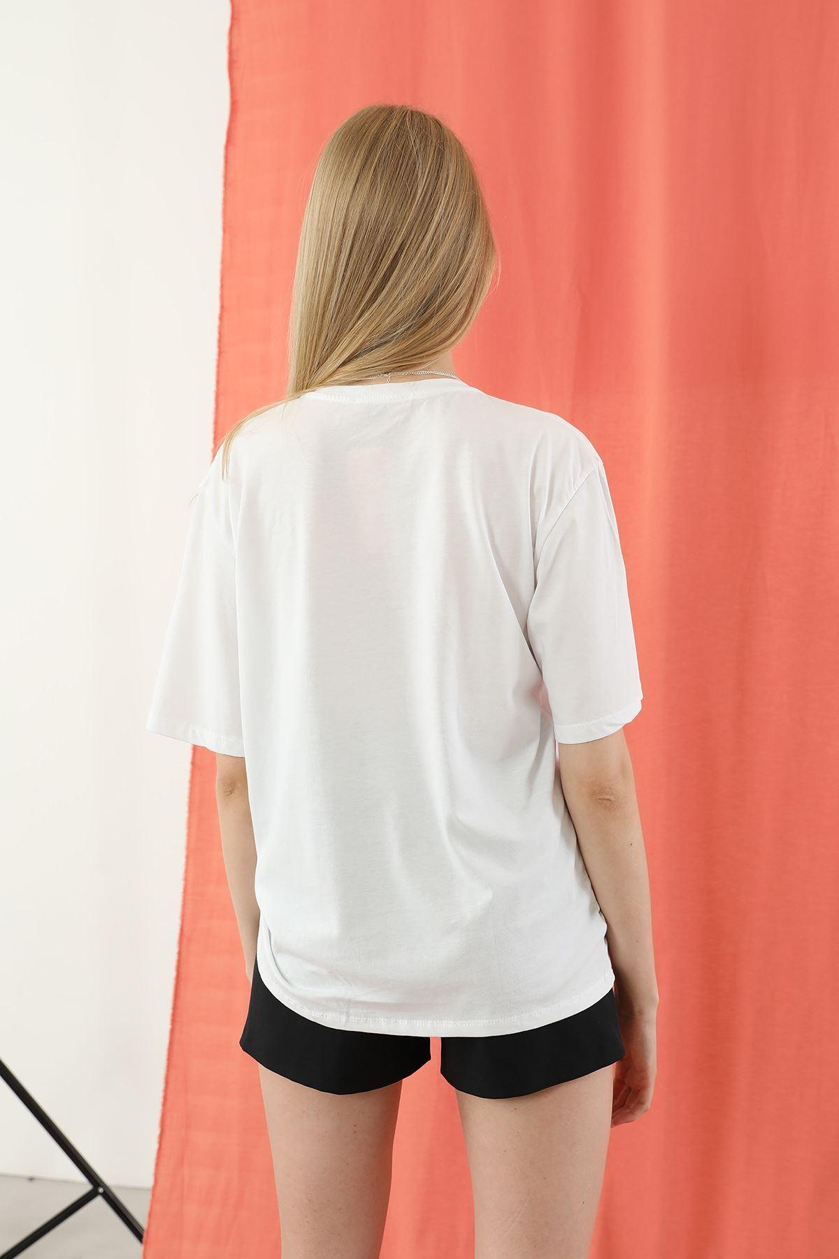 Not Dream Baskılı T-shirt-Beyaz