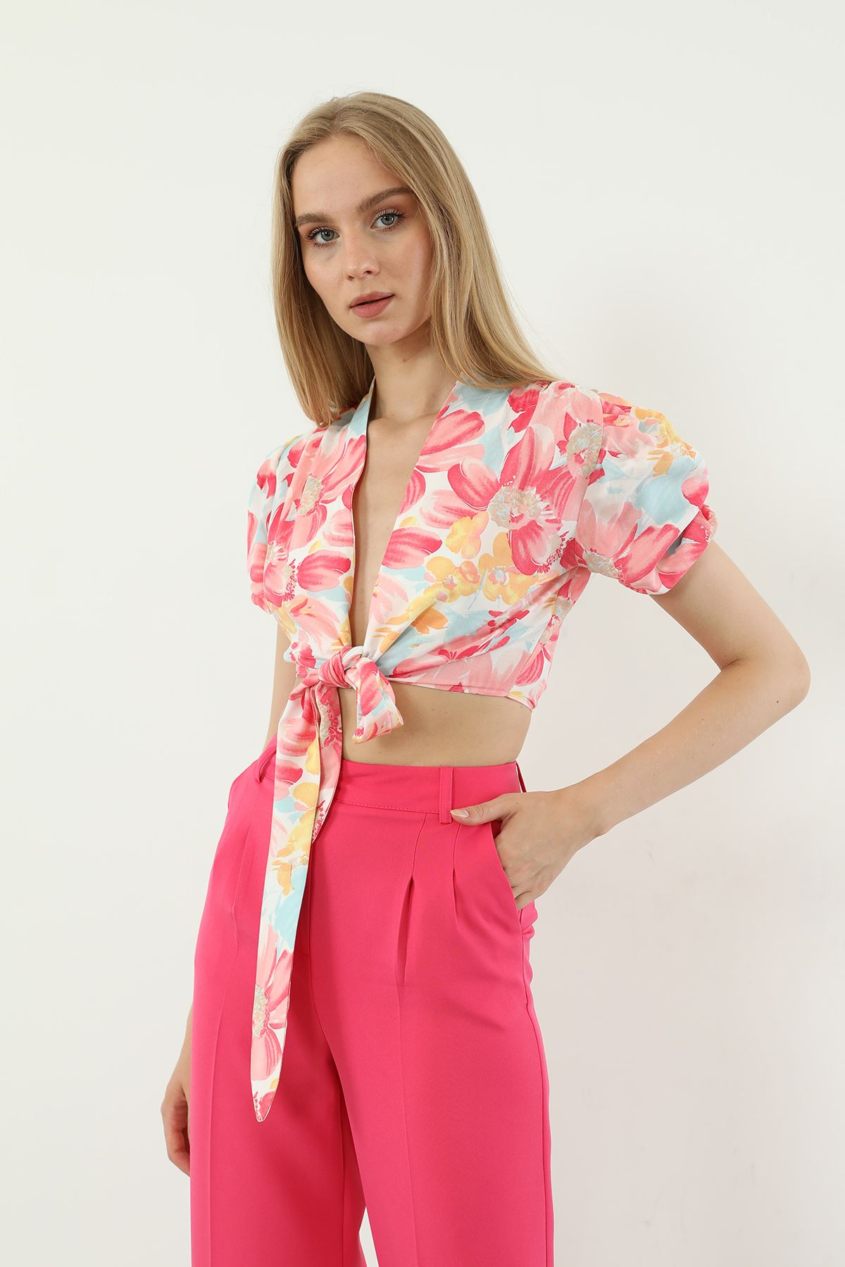 Çiçek Desen Bluz-Pembe