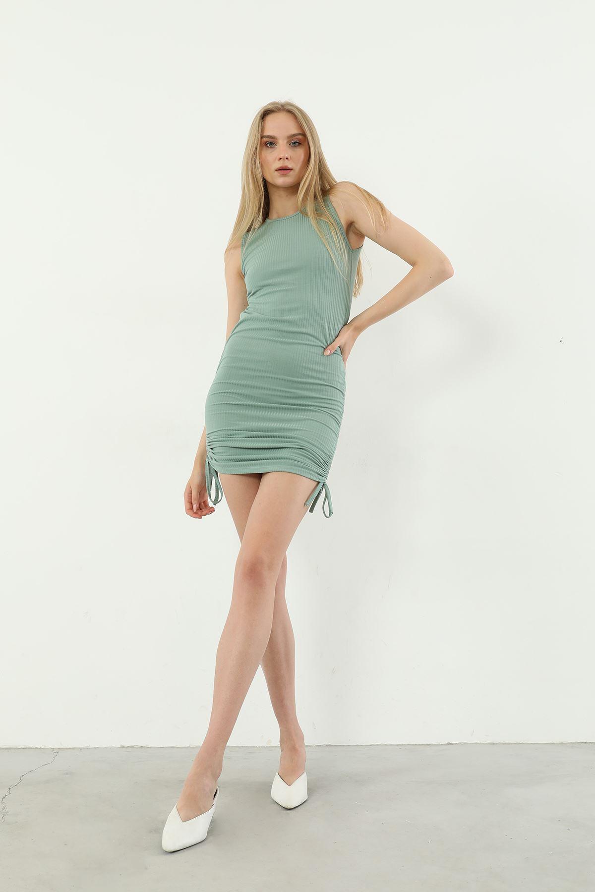 Yanları Büzgülü Elbise-Mint