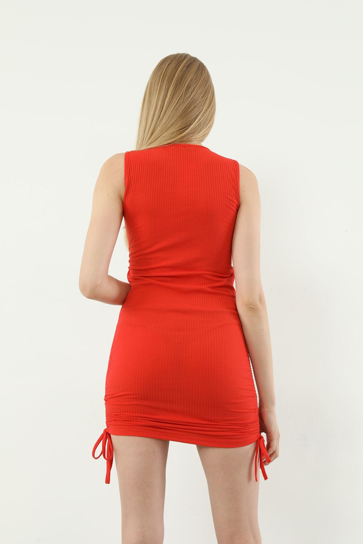 Yanları Büzgülü Elbise-Kiremit