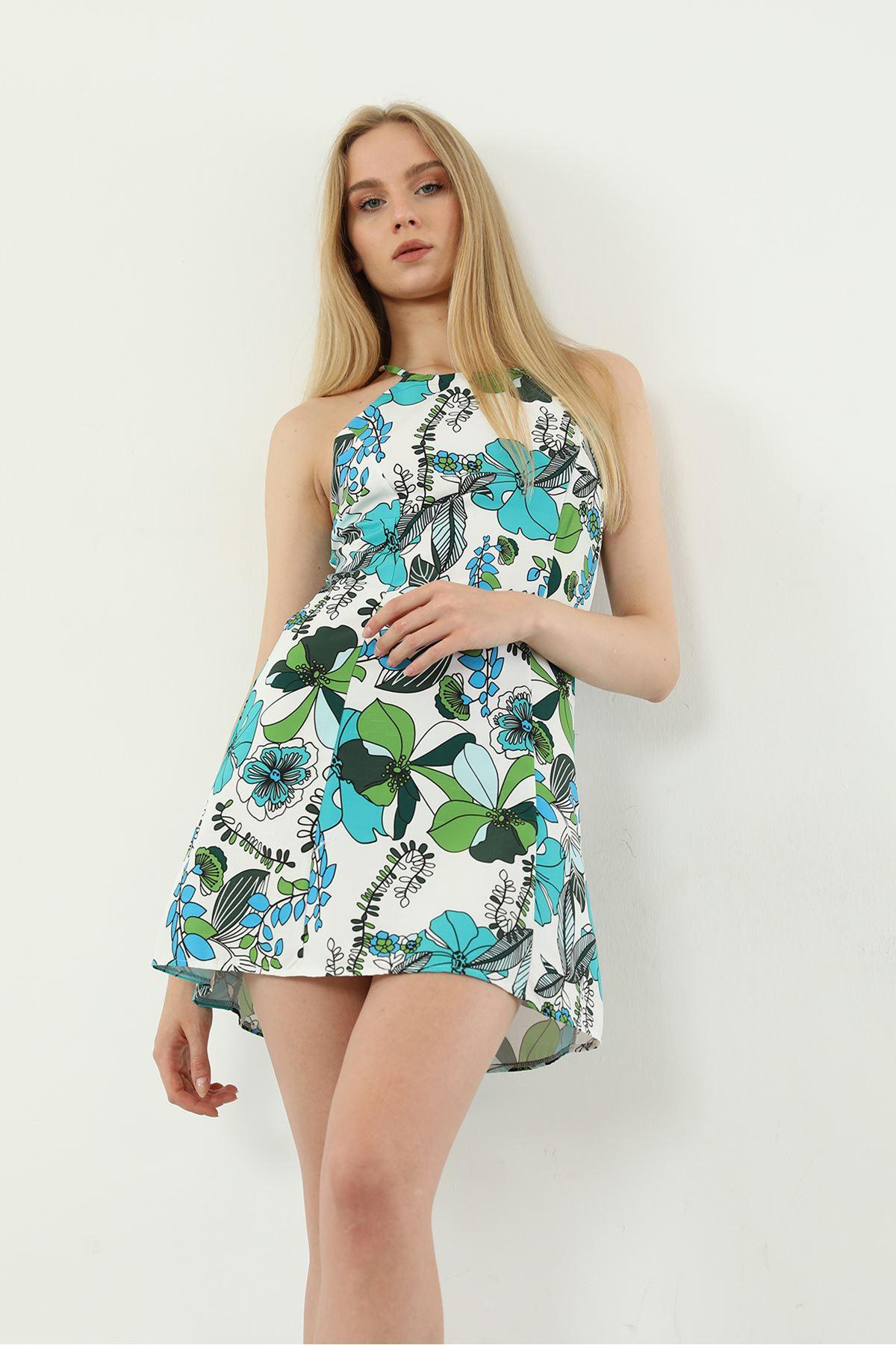 Çiçek Desen Elbise-Yeşil