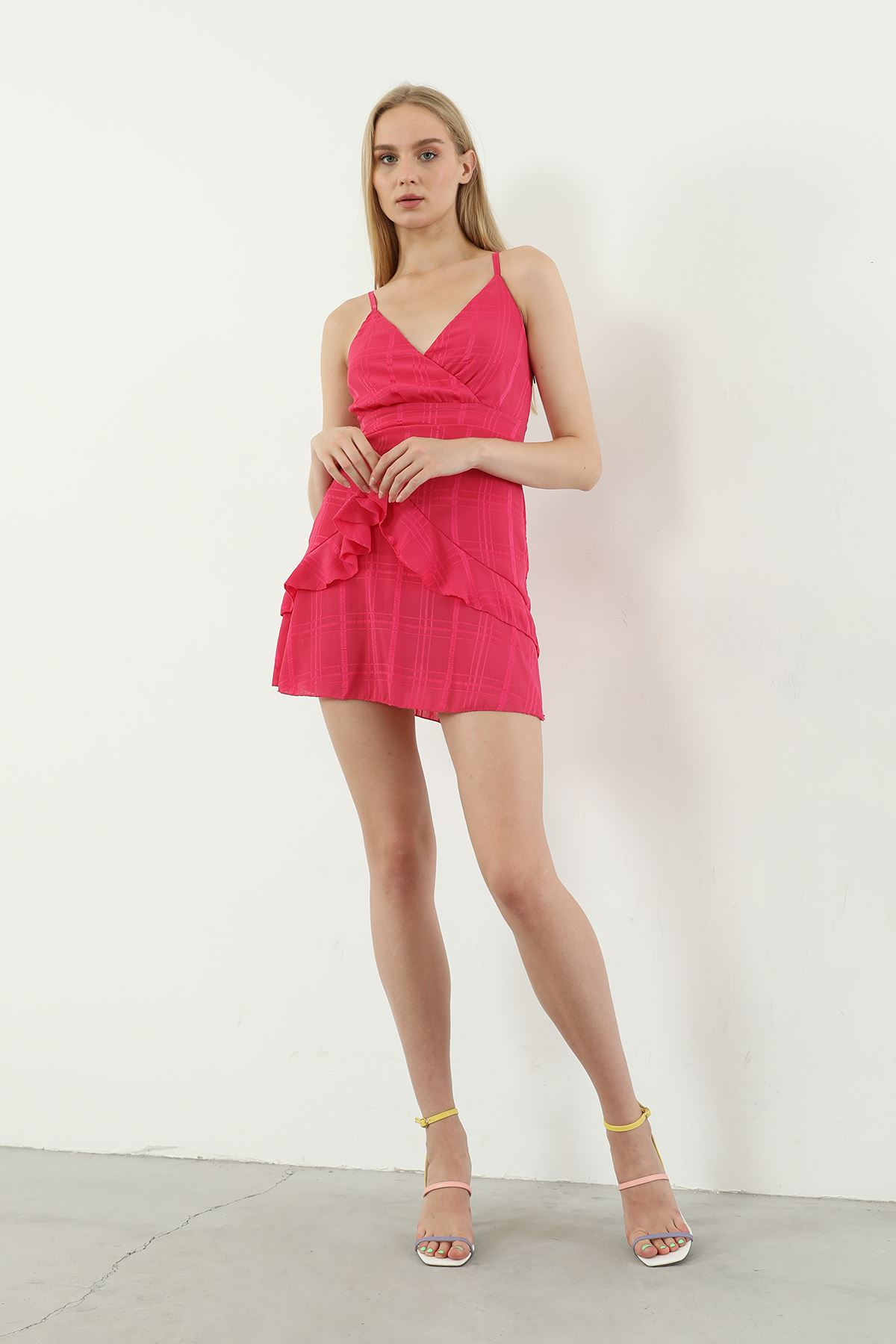Askılı Kısa Elbise-Fuşya