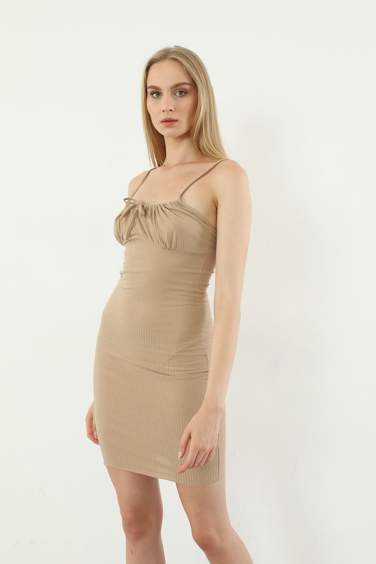 Askılı Kaşkorse Elbise-Bej