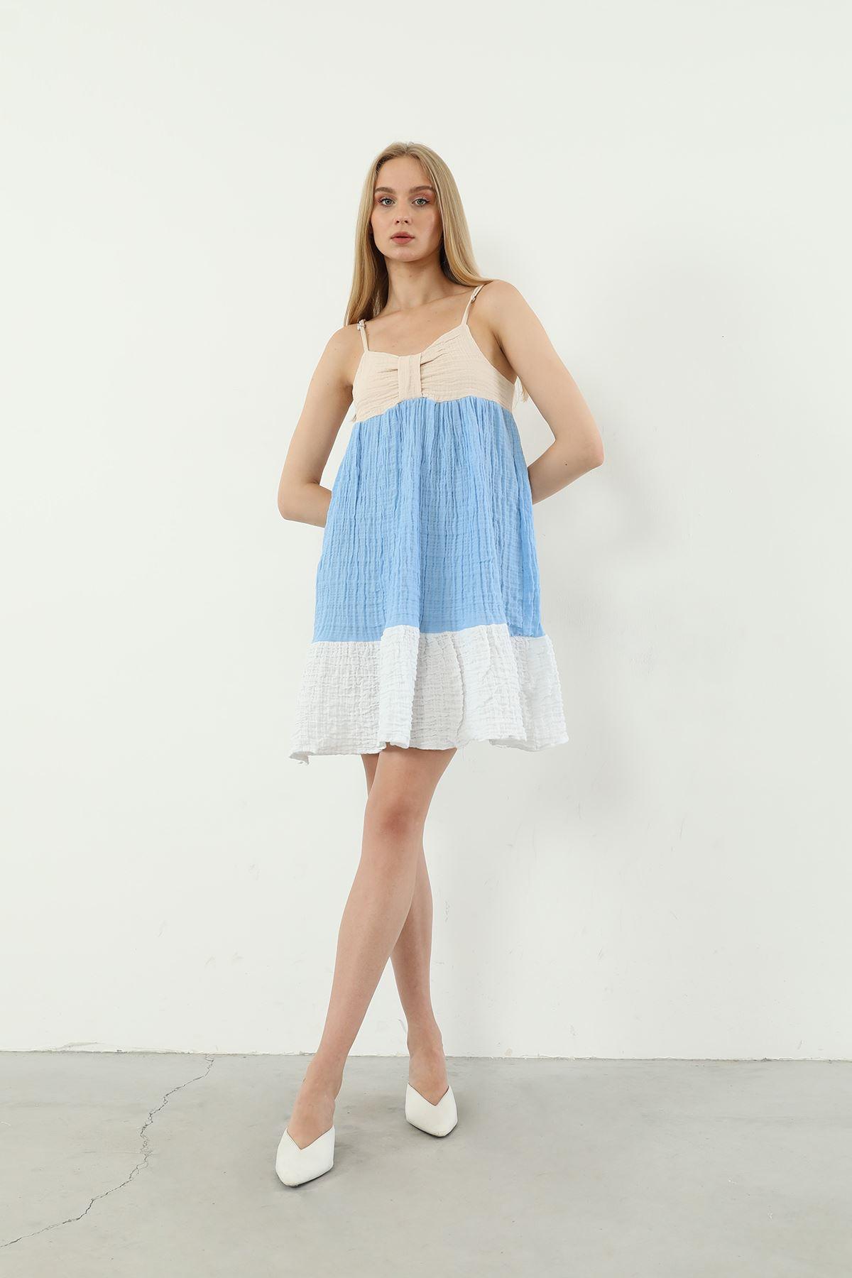 Askılı Elbise-Mavi