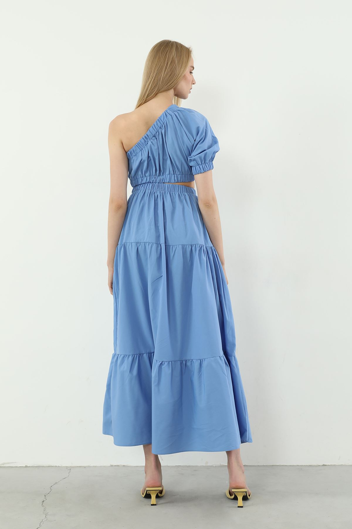 Tek Kol Poplin Elbise-Mavi