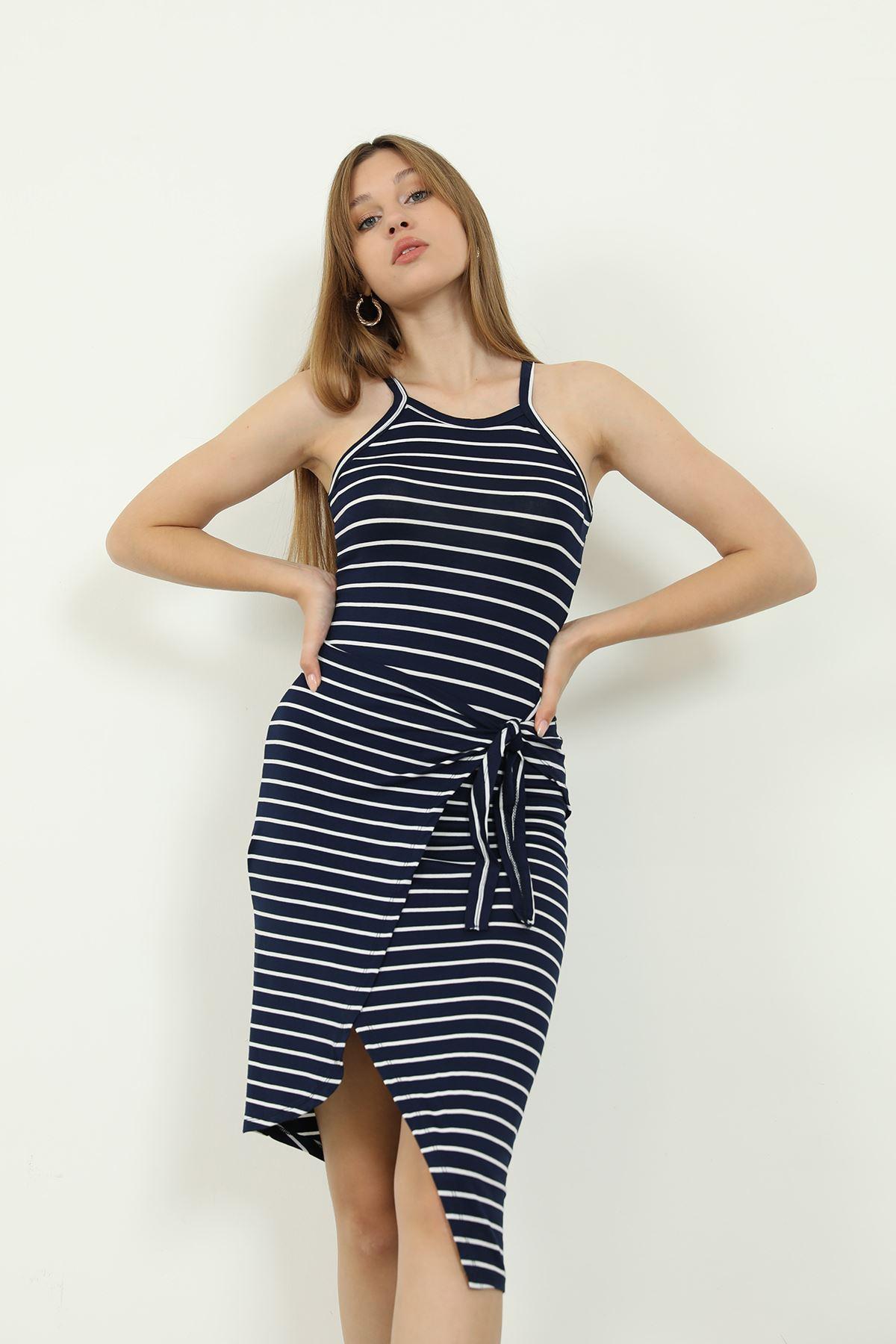 Çizgili Elbise-Lacivert
