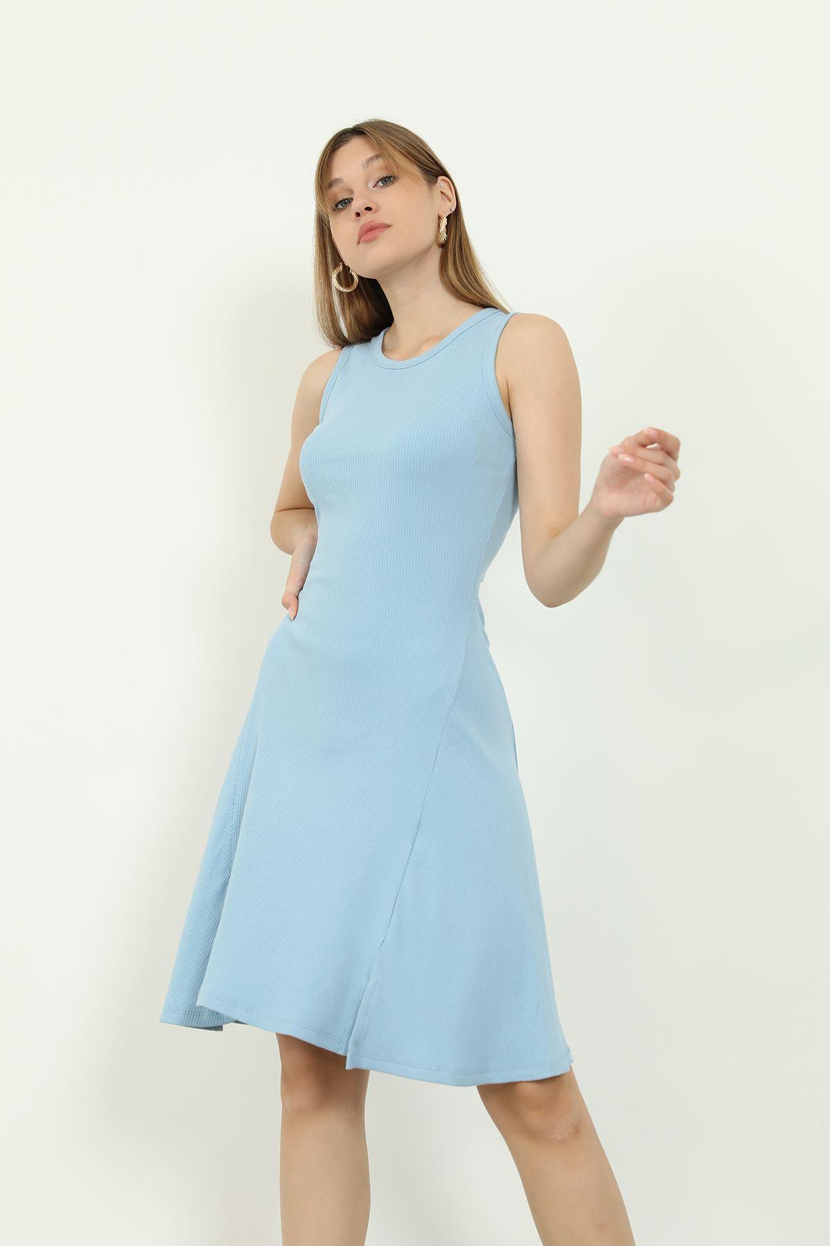Volanlı Elbise-Mavi