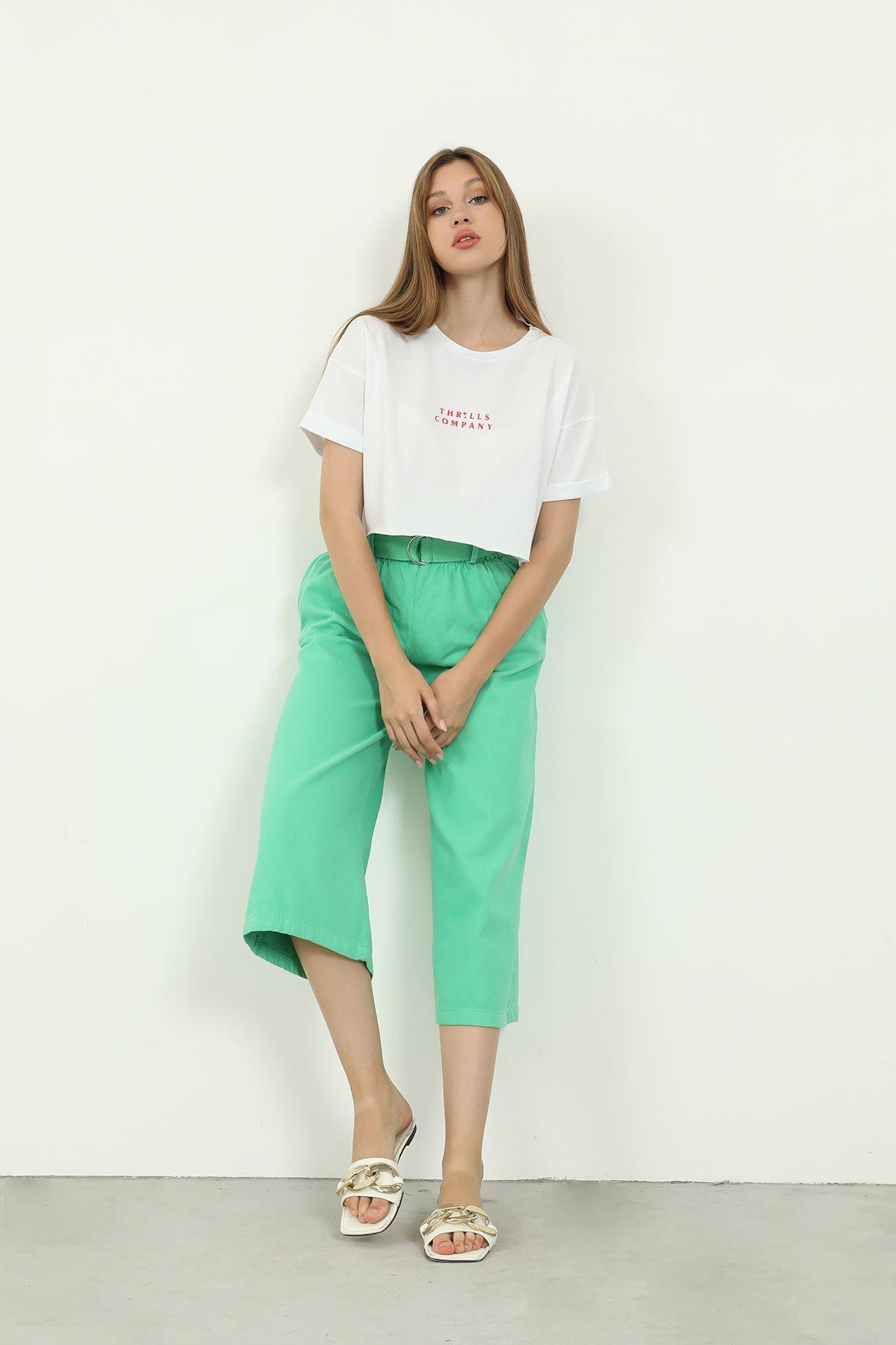 Kemerli Bol Pantolon-Yeşil