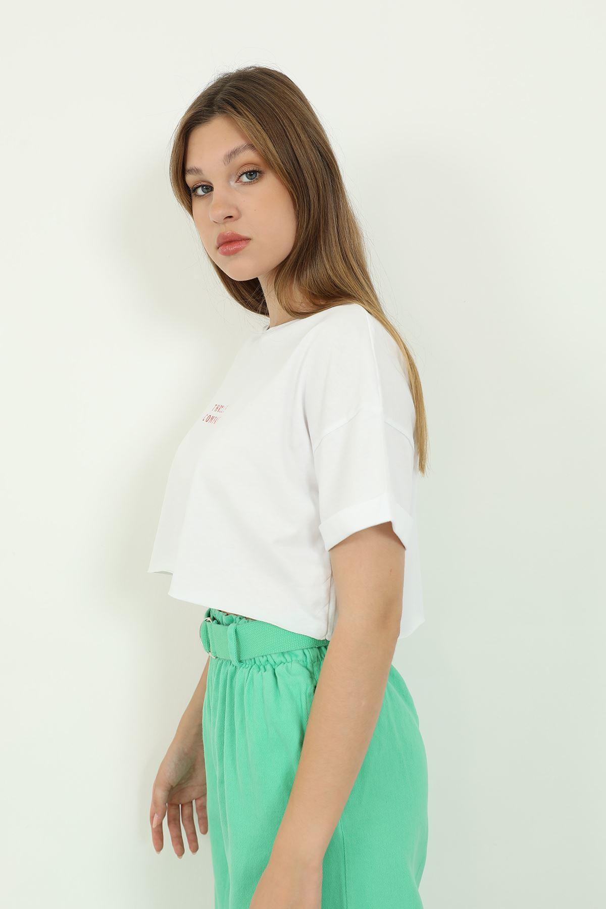 Crop T-shirt-Beyaz