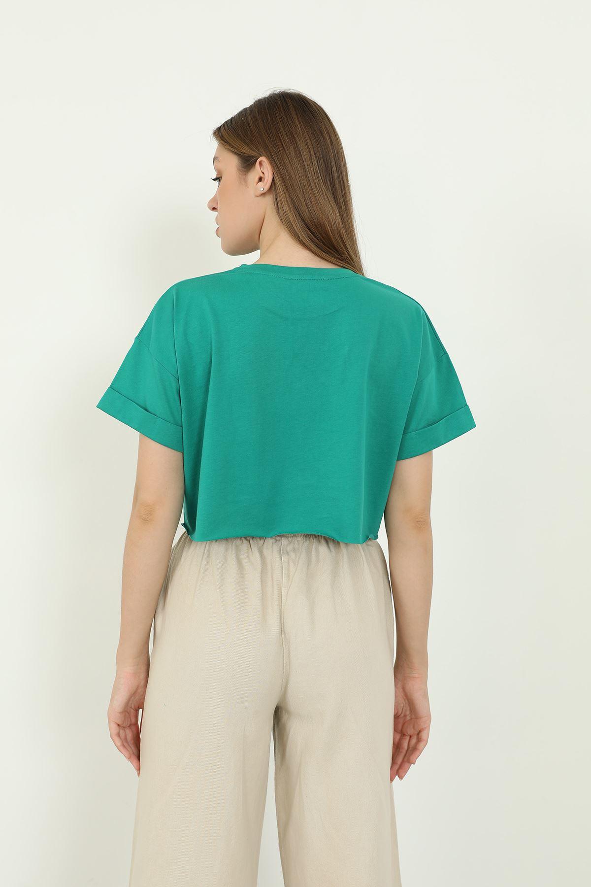 Crop T-shirt-Yeşil