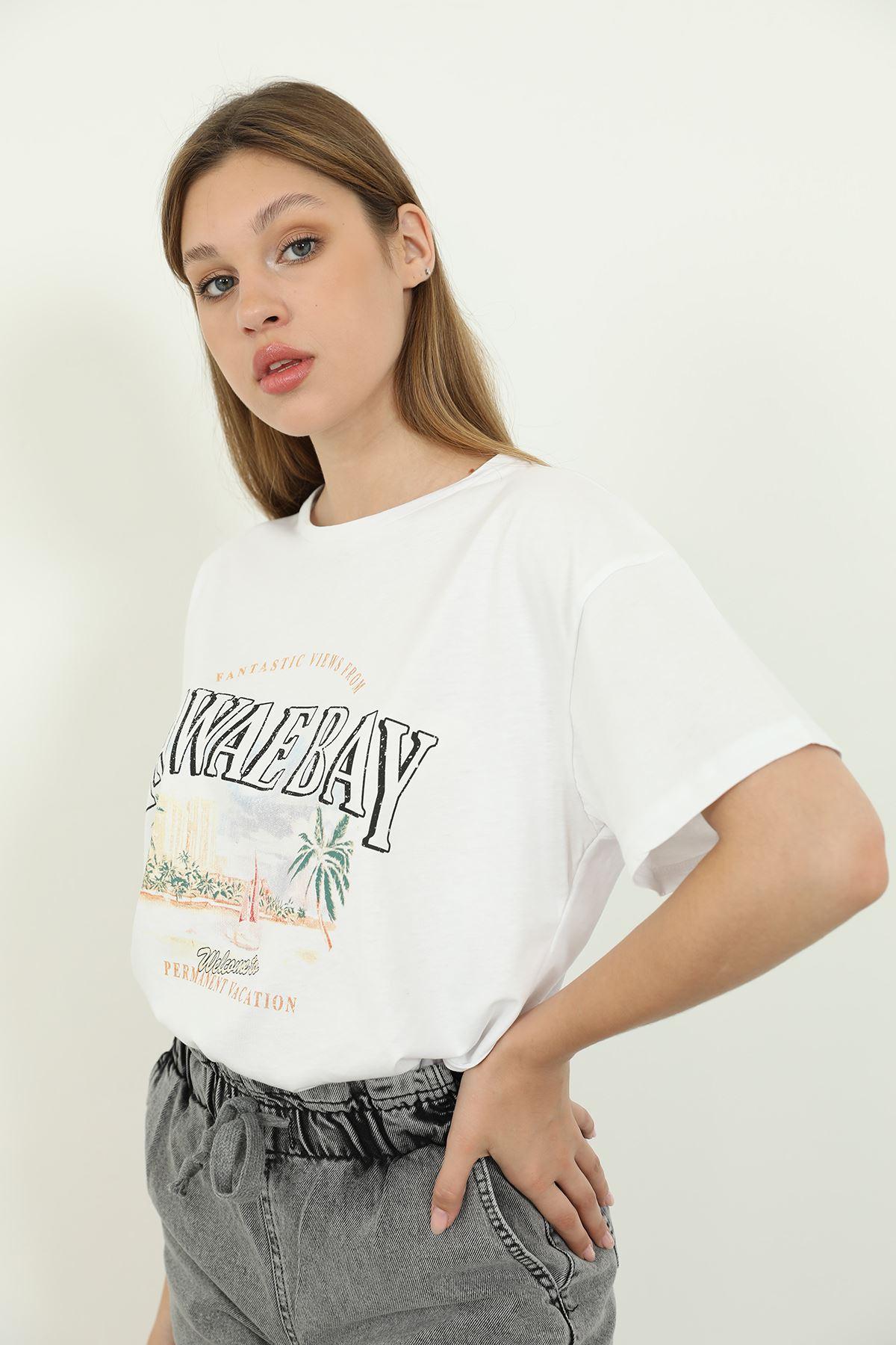 Hawae Bay Baskılı T-shirt-Beyaz