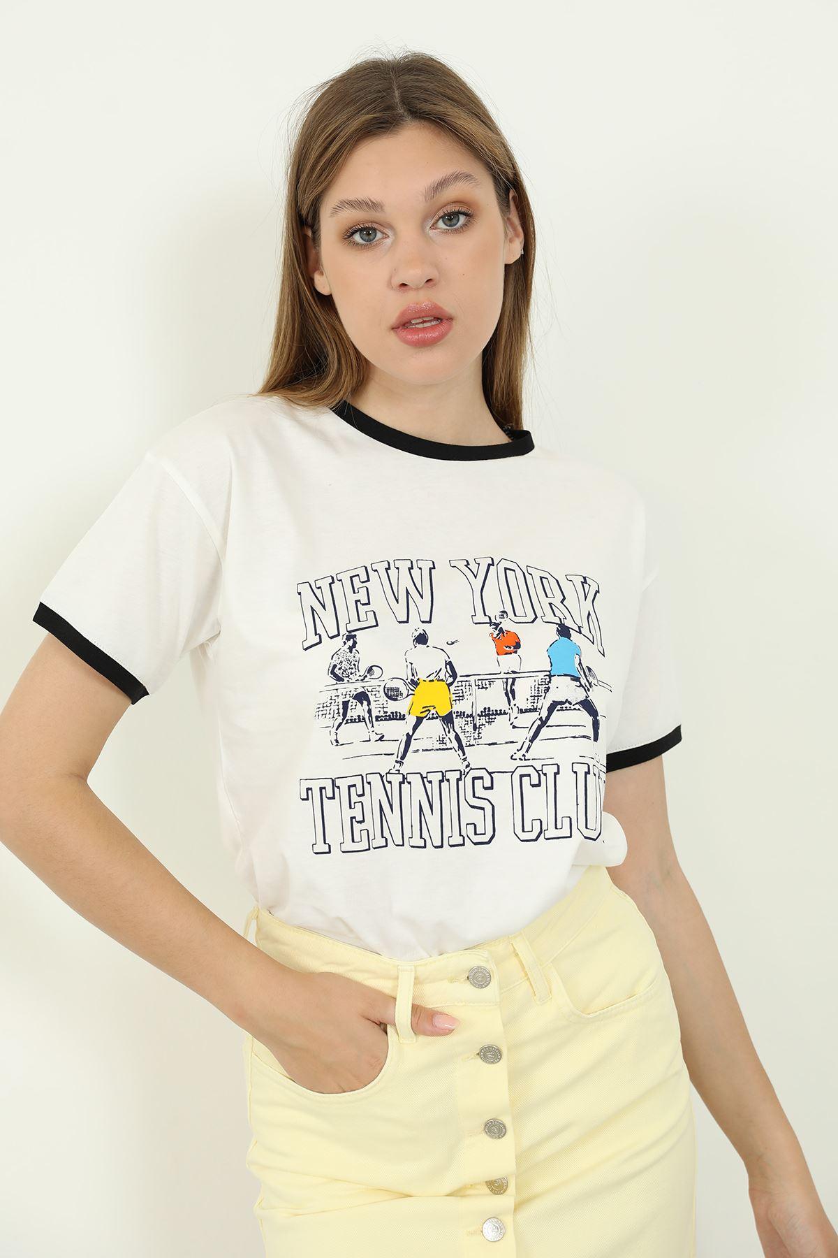 Newyork Baskılı T-shirt-Beyaz