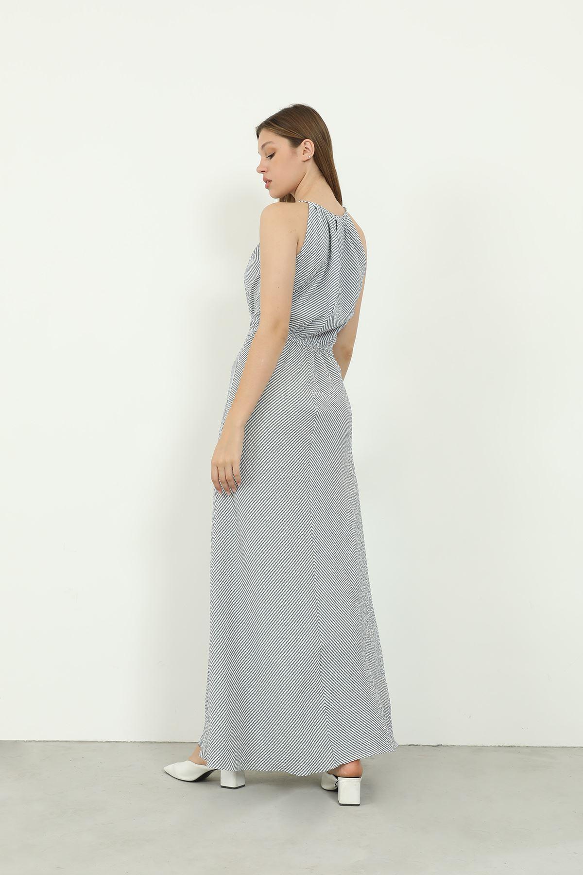 Sırt Dekolteli Elbise-Lacivert
