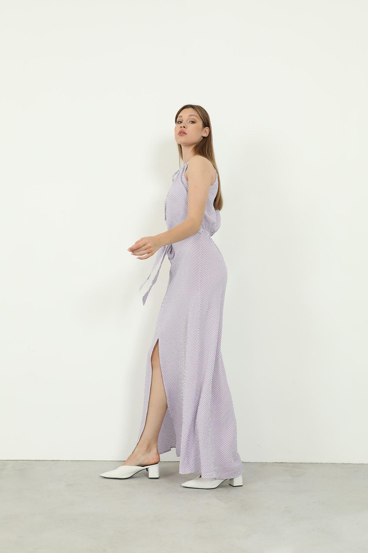 Sırt Dekolteli Elbise-Lila