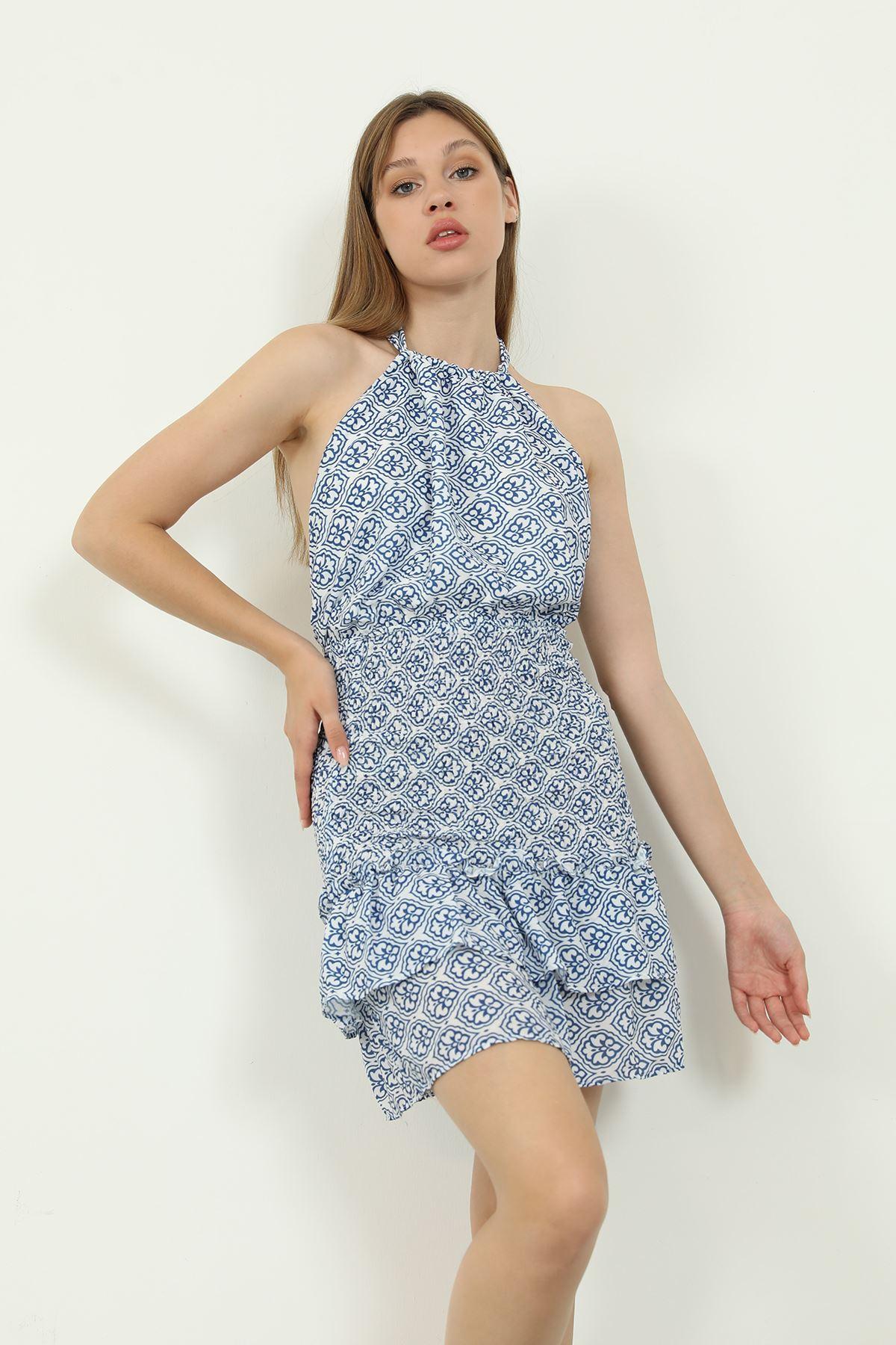 Desenli Gipeli Elbise-Mavi