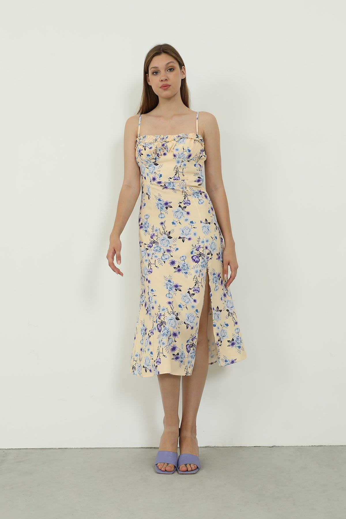 Askılı Desenli Elbise-Sarı