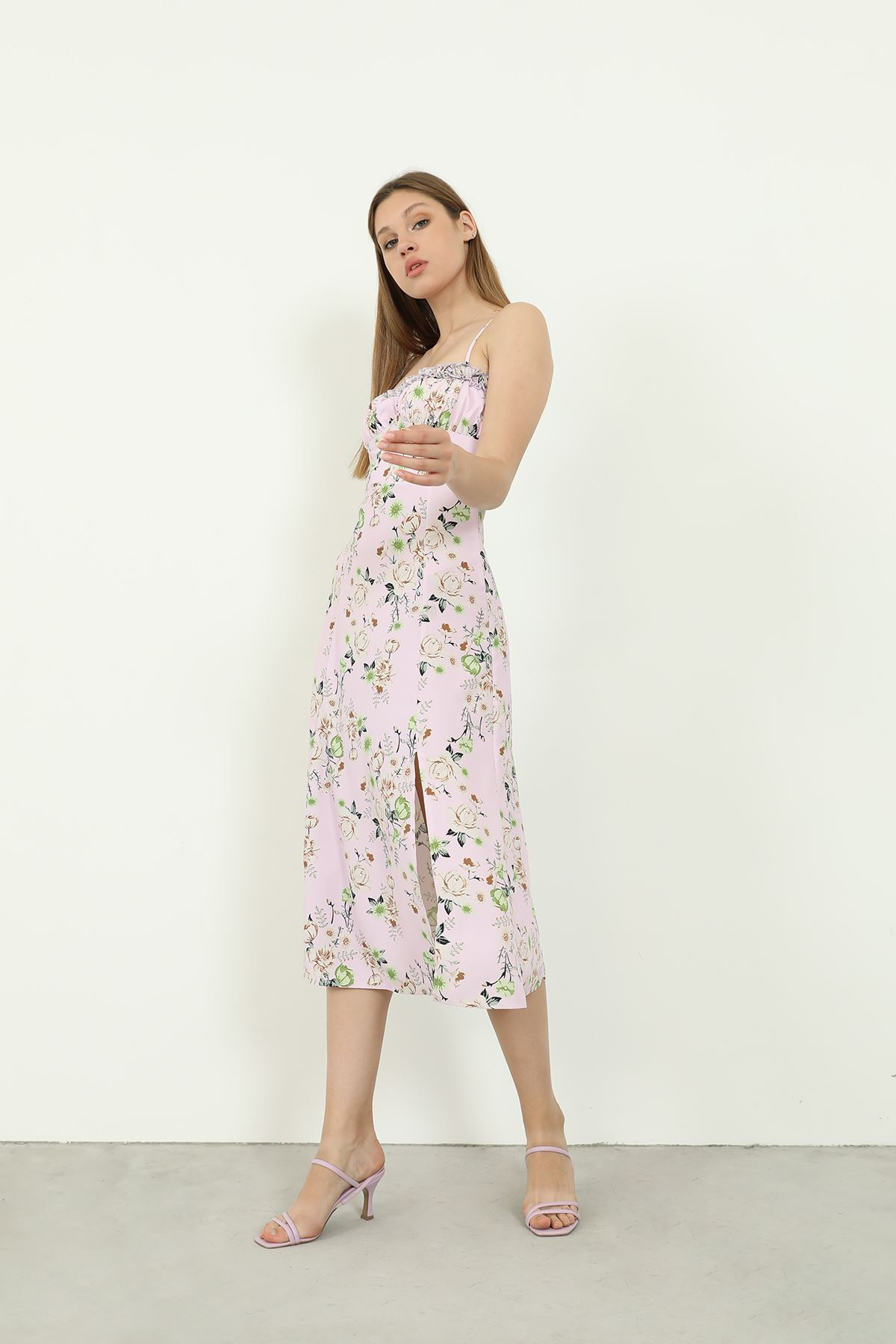 Askılı Desenli Elbise-Lila