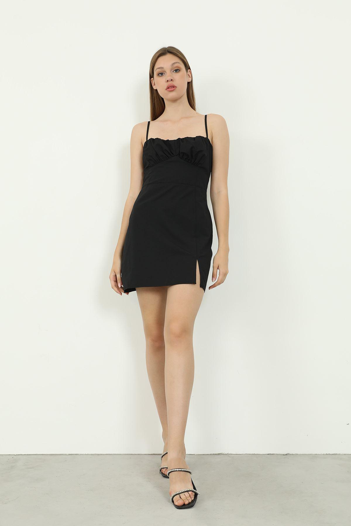 Askılı Poplin Elbise-Siyah