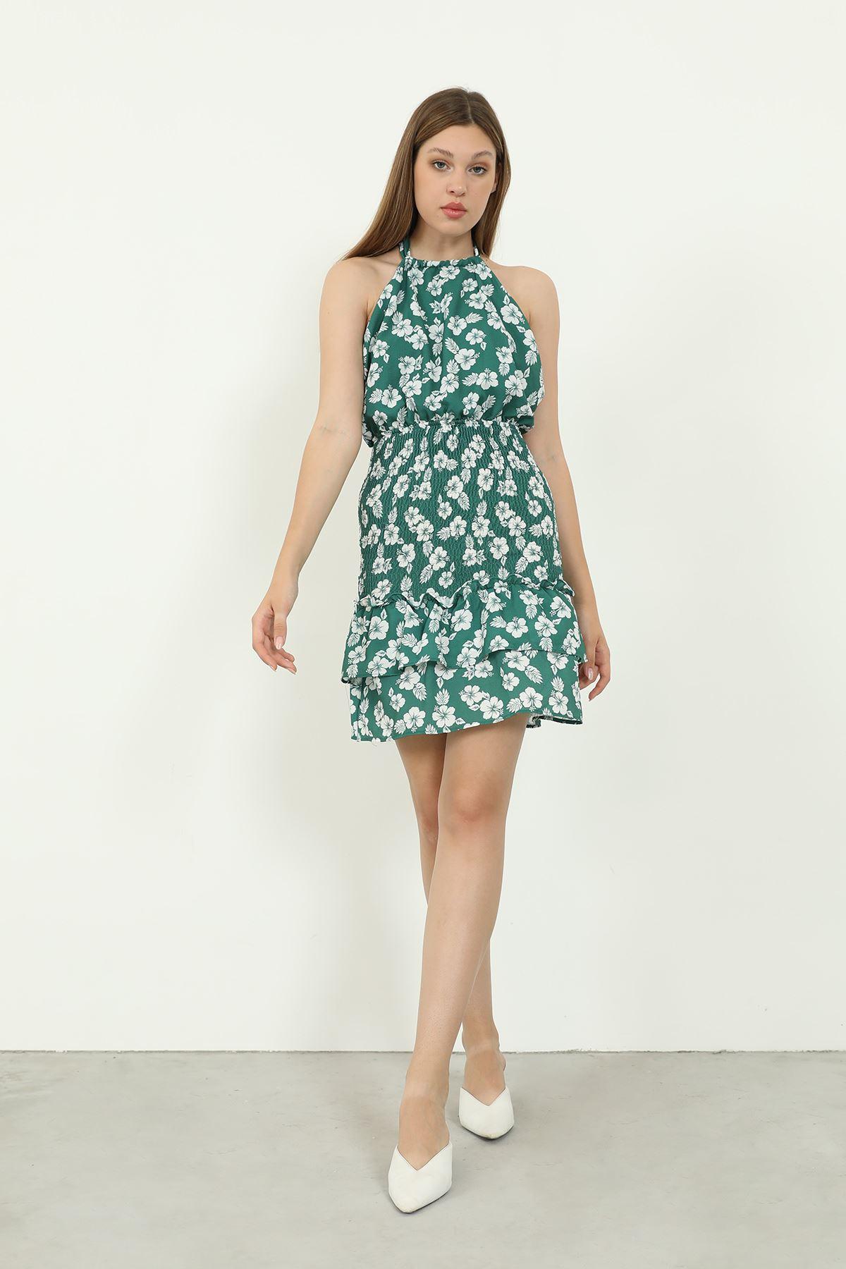 Çiçek Desen Gipeli Elbise-Yeşil