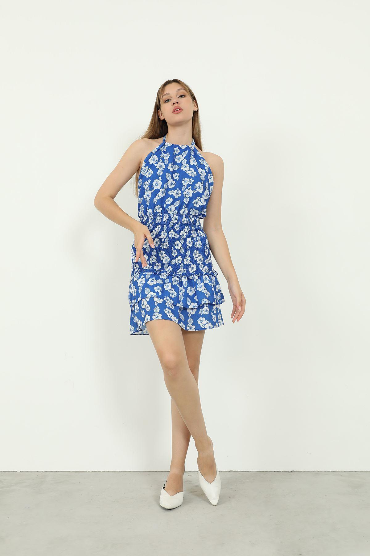 Çiçek Desen Gipeli Elbise-Saks