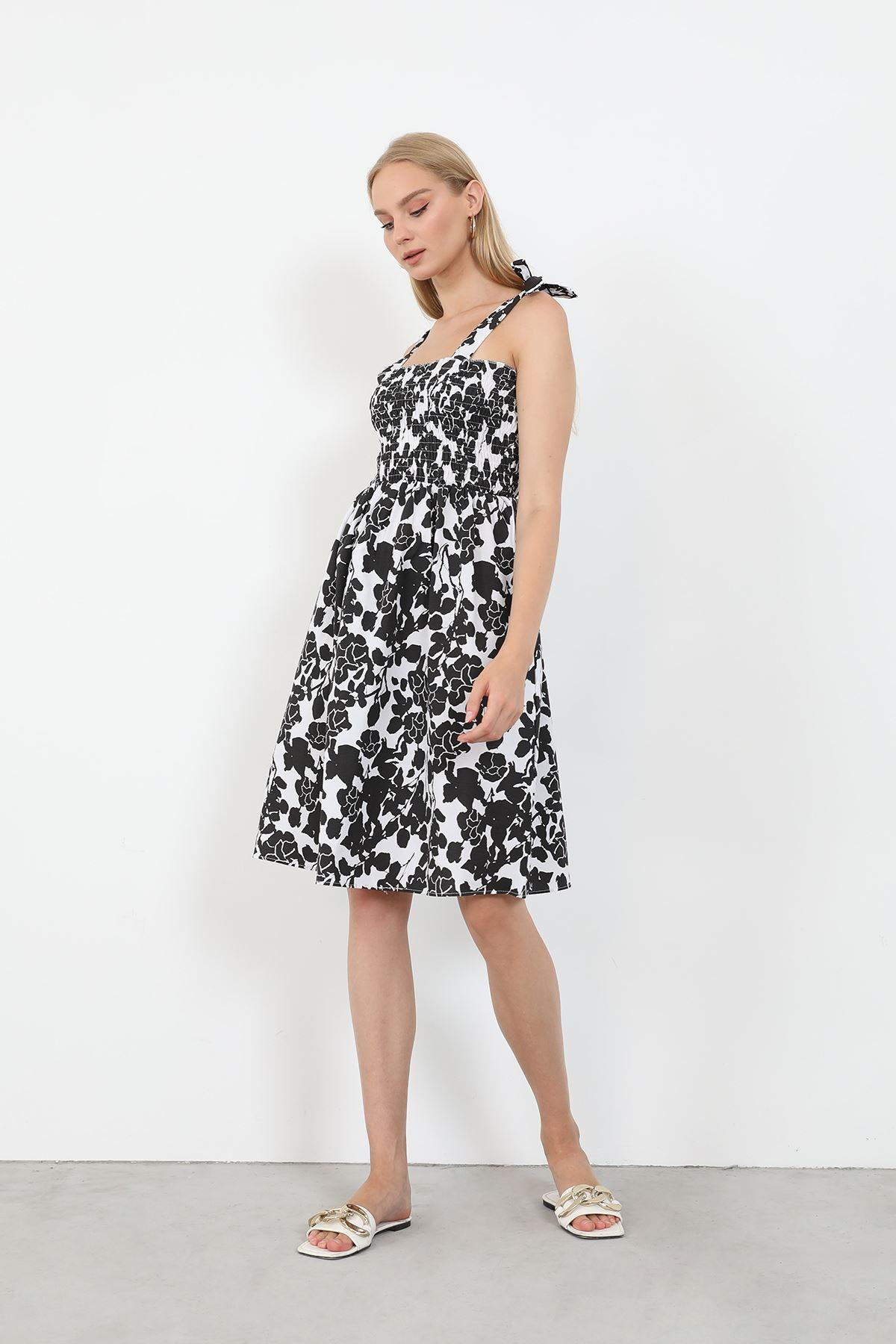 Desenli Poplin Elbise-Siyah