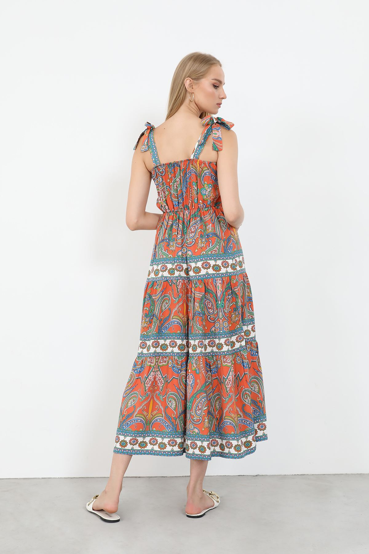 Şal Desen Elbise-Kiremit