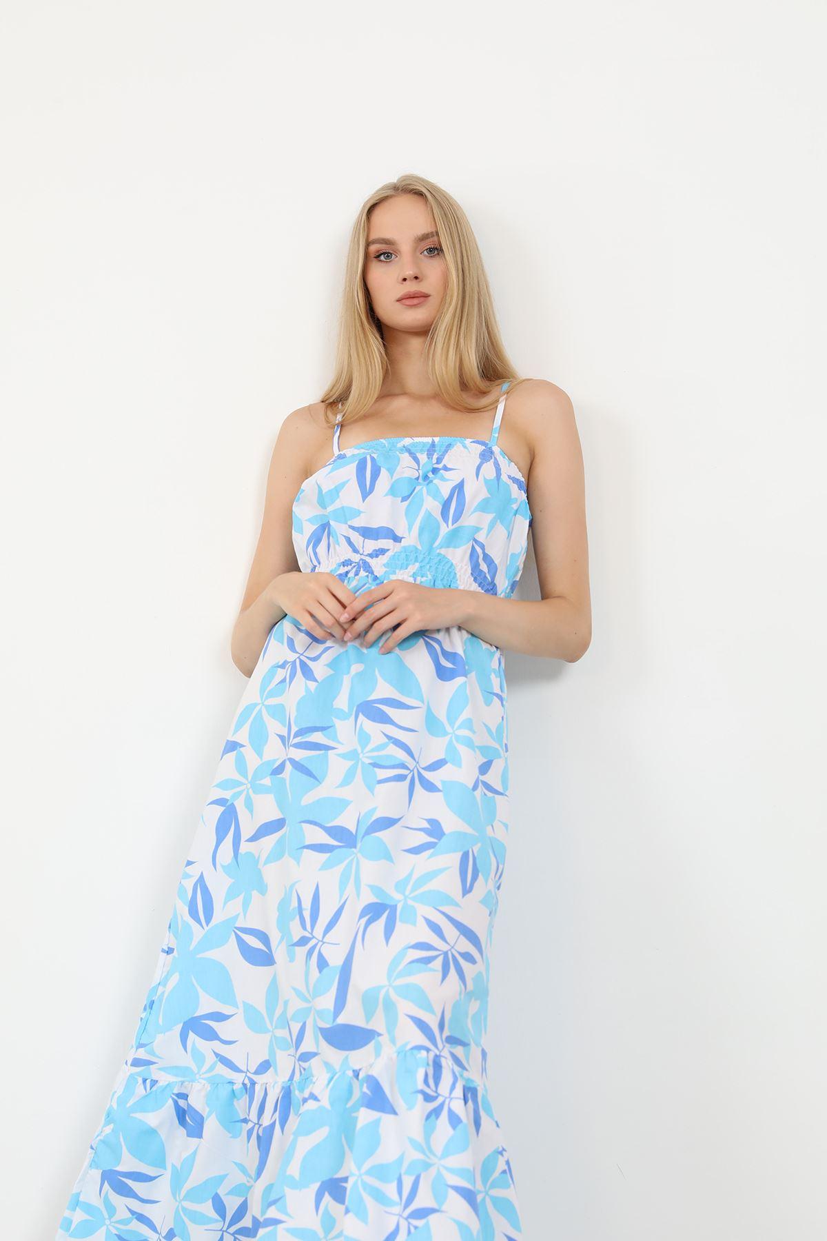 Askılı Poplin Elbise-Mavi