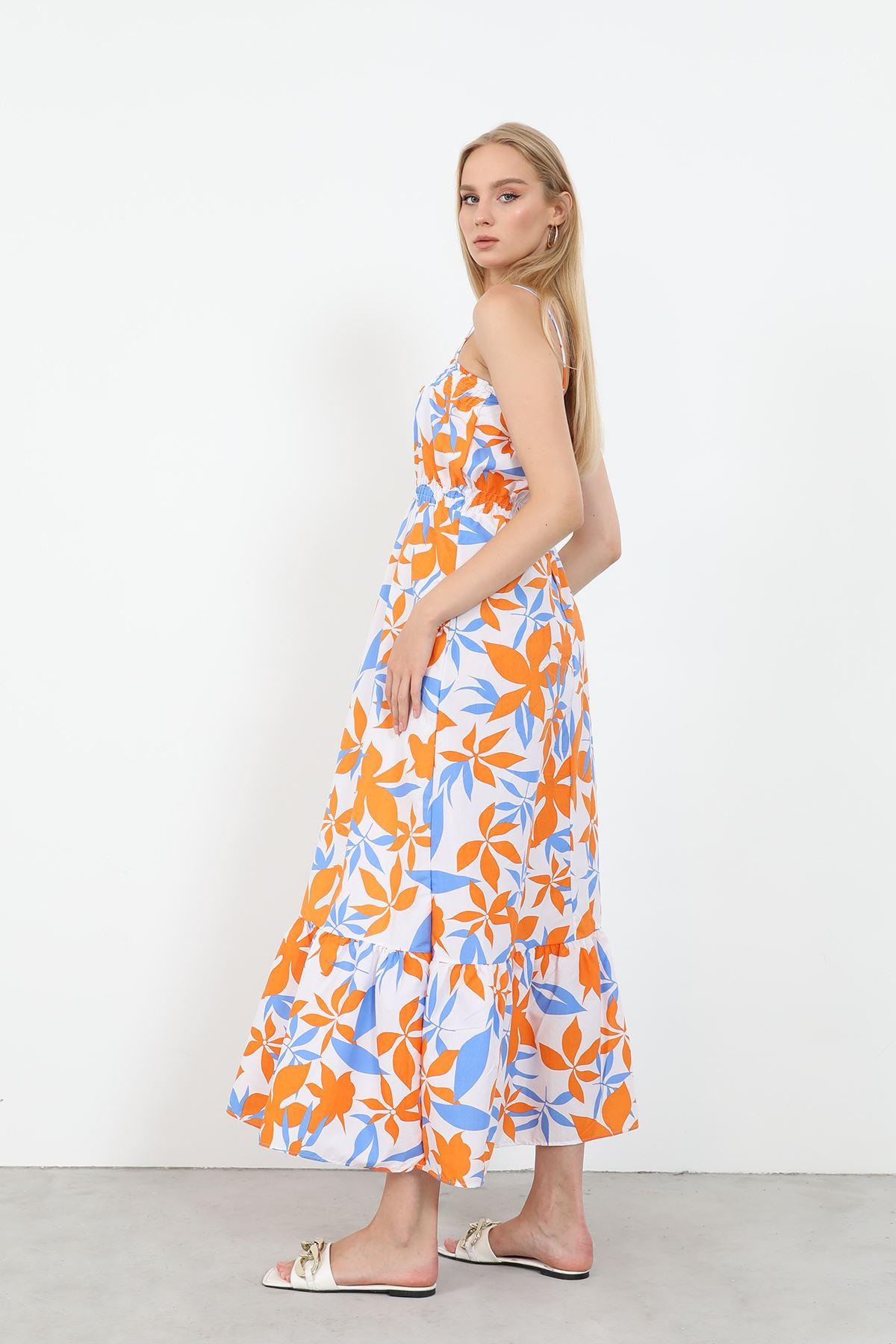 Askılı Poplin Elbise-Oranj