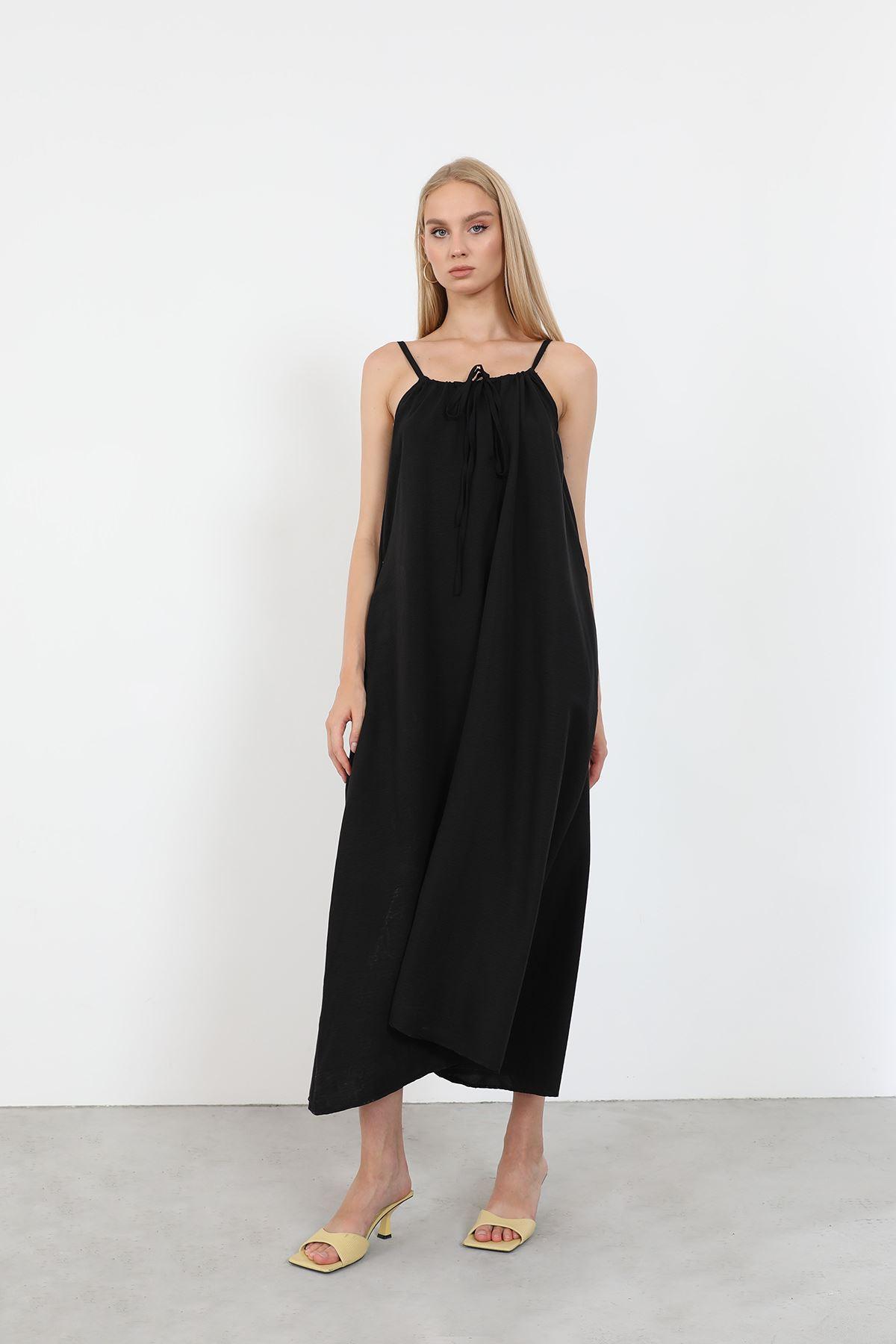 Askılı Salaş Elbise-Siyah