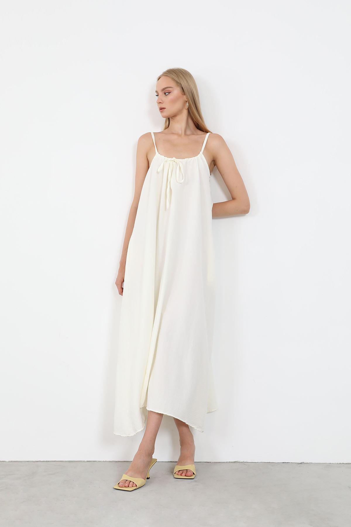 Askılı Salaş Elbise-Ekru