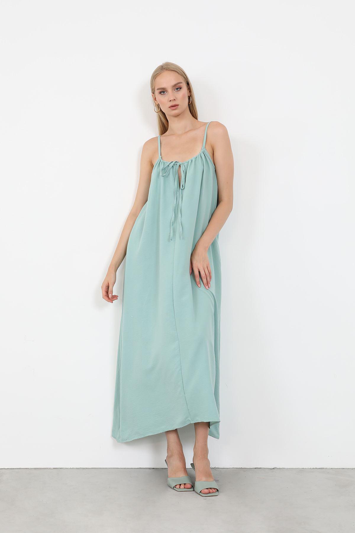 Askılı Salaş Elbise-Mint