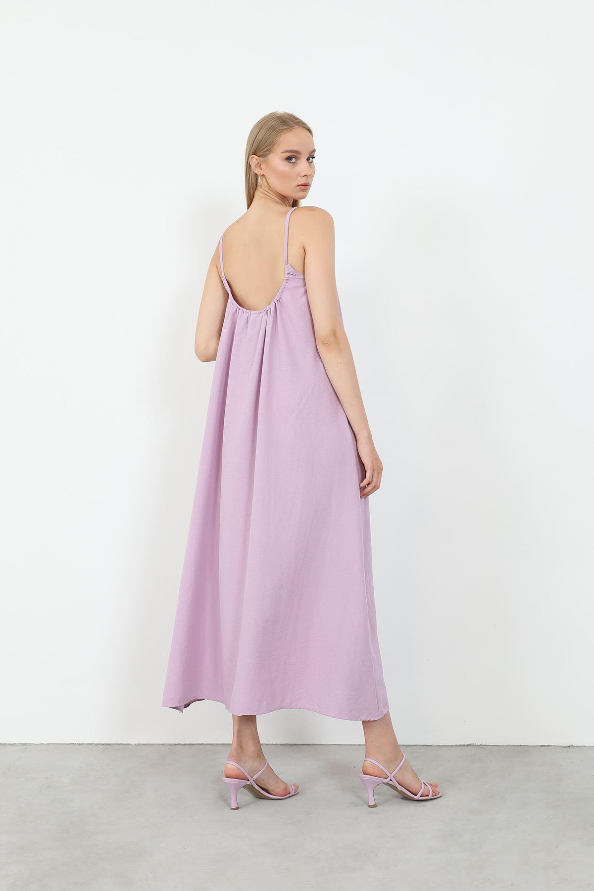 Askılı Salaş Elbise-Lila