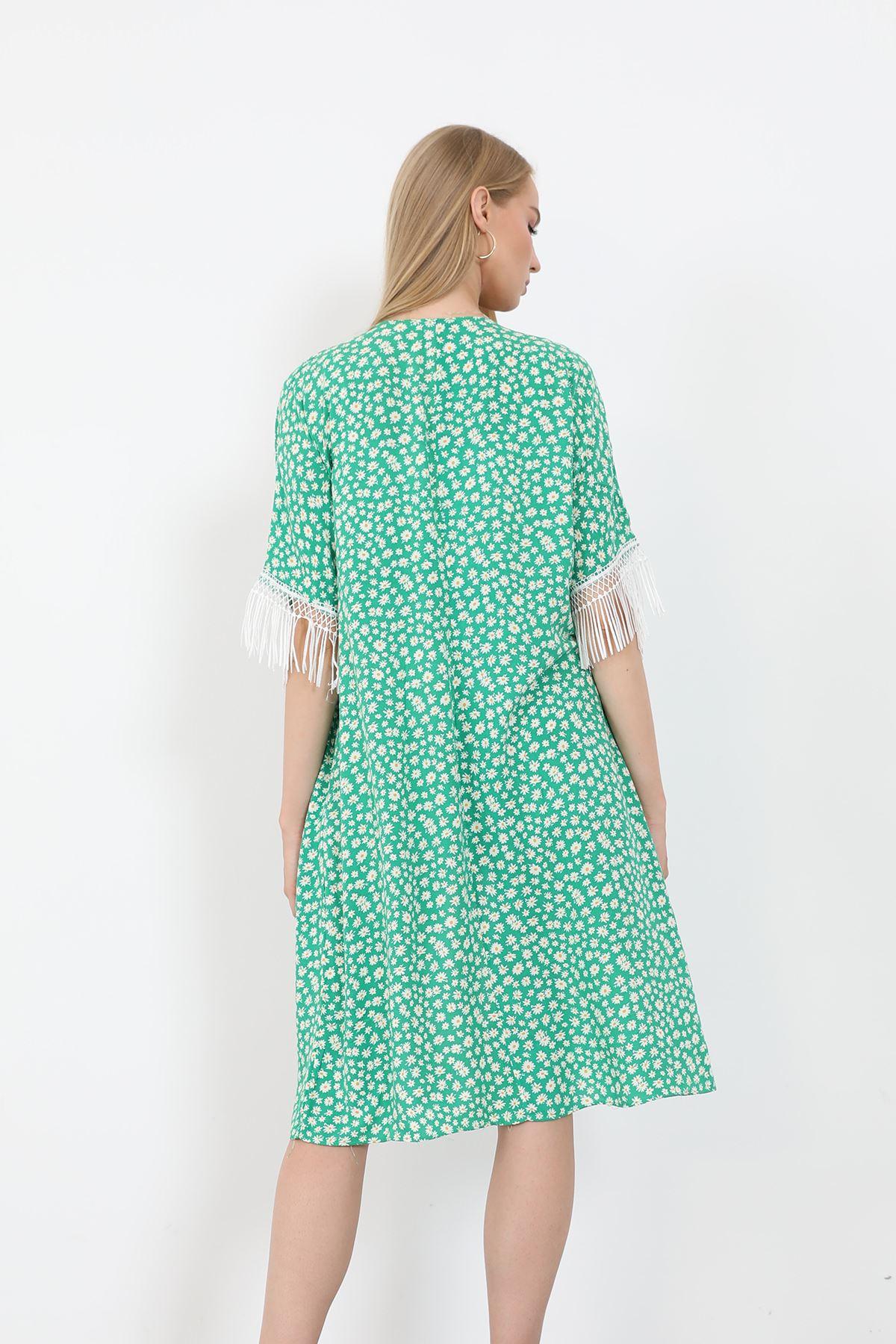 Püsküllü Kimono-Yeşil