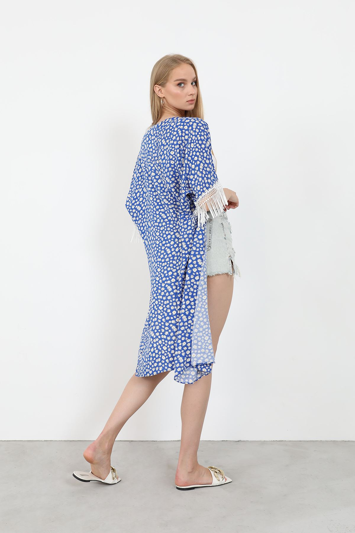 Püsküllü Kimono-Mavi